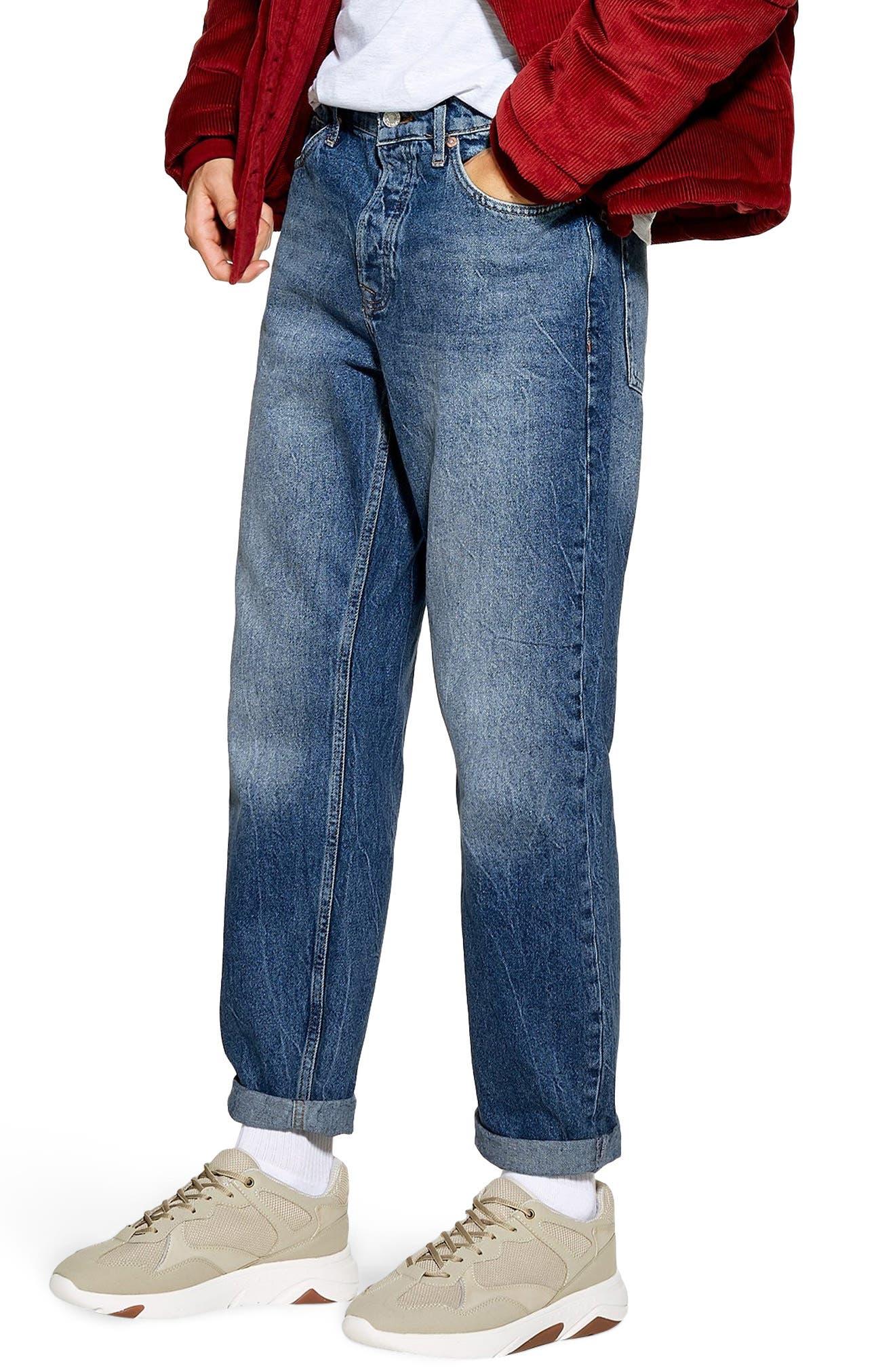 TOPMAN, Billy Original Fit Jeans, Main thumbnail 1, color, BLUE