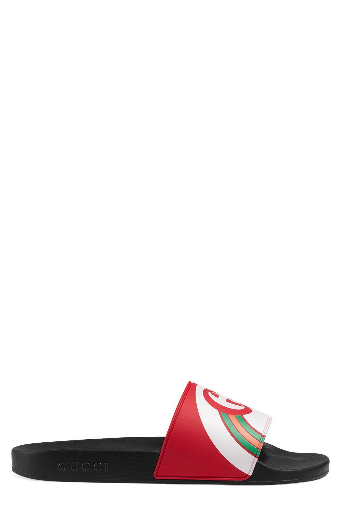 GUCCI, Pursuit Rainbow Sport Slide, Alternate thumbnail 2, color, LIVE RED/ MULTICOLOR