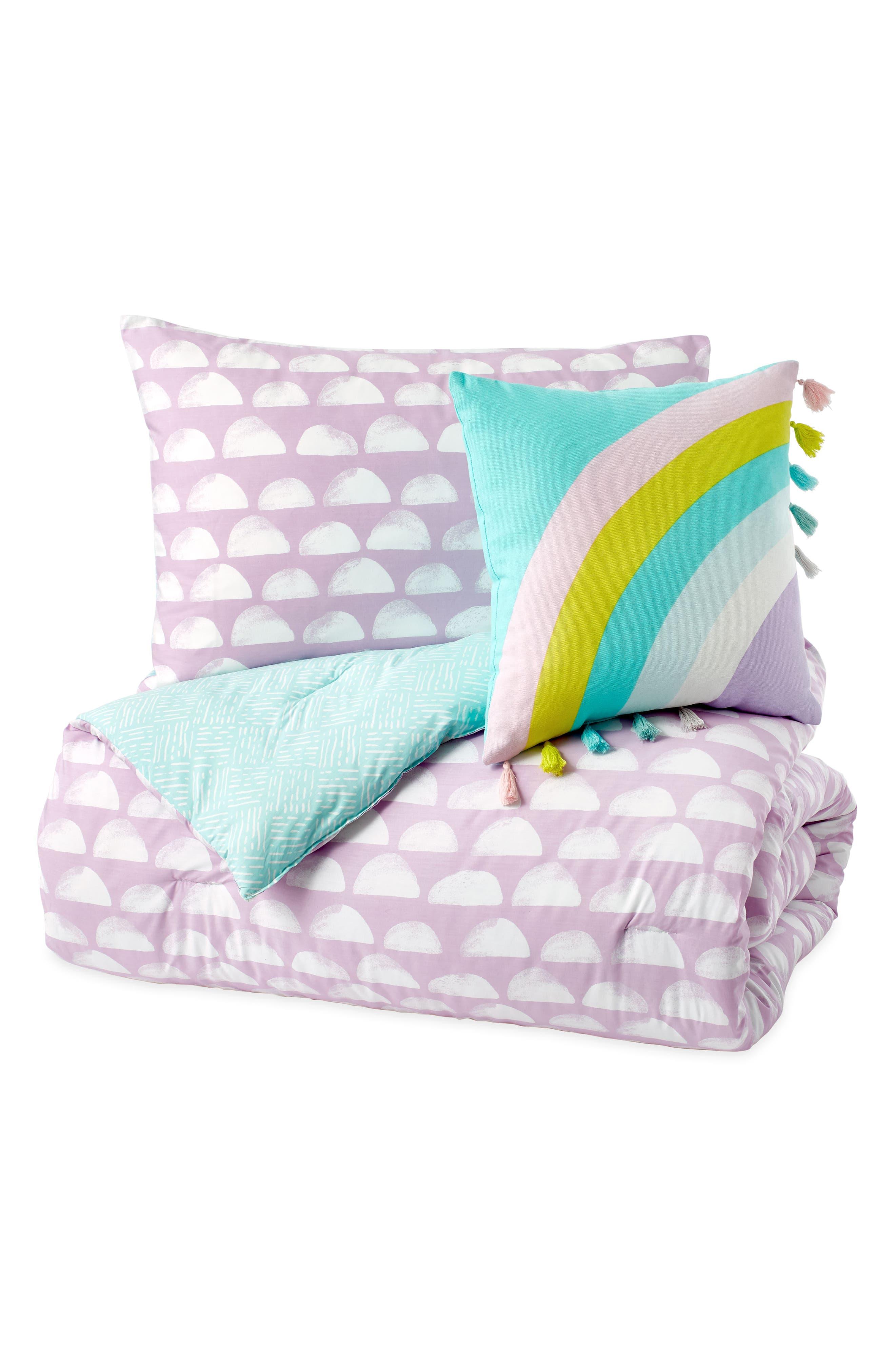DKNY, Over the Moon Duvet, Sham & Accent Pillow Set, Alternate thumbnail 3, color, PURPLE