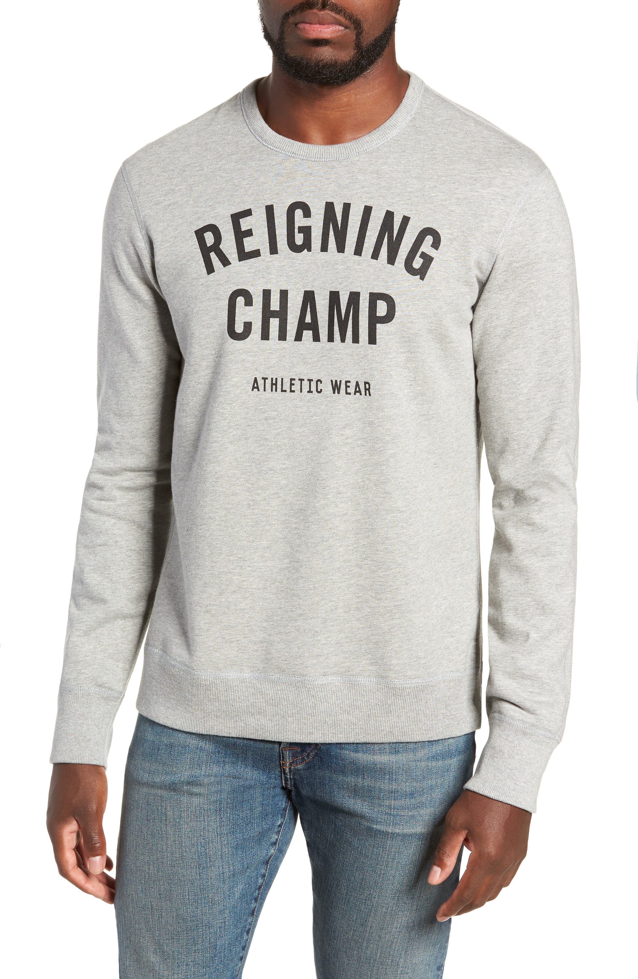 REIGNING CHAMP, Gym Logo Sweatshirt, Main thumbnail 1, color, HEATHER GREY/ BLACK