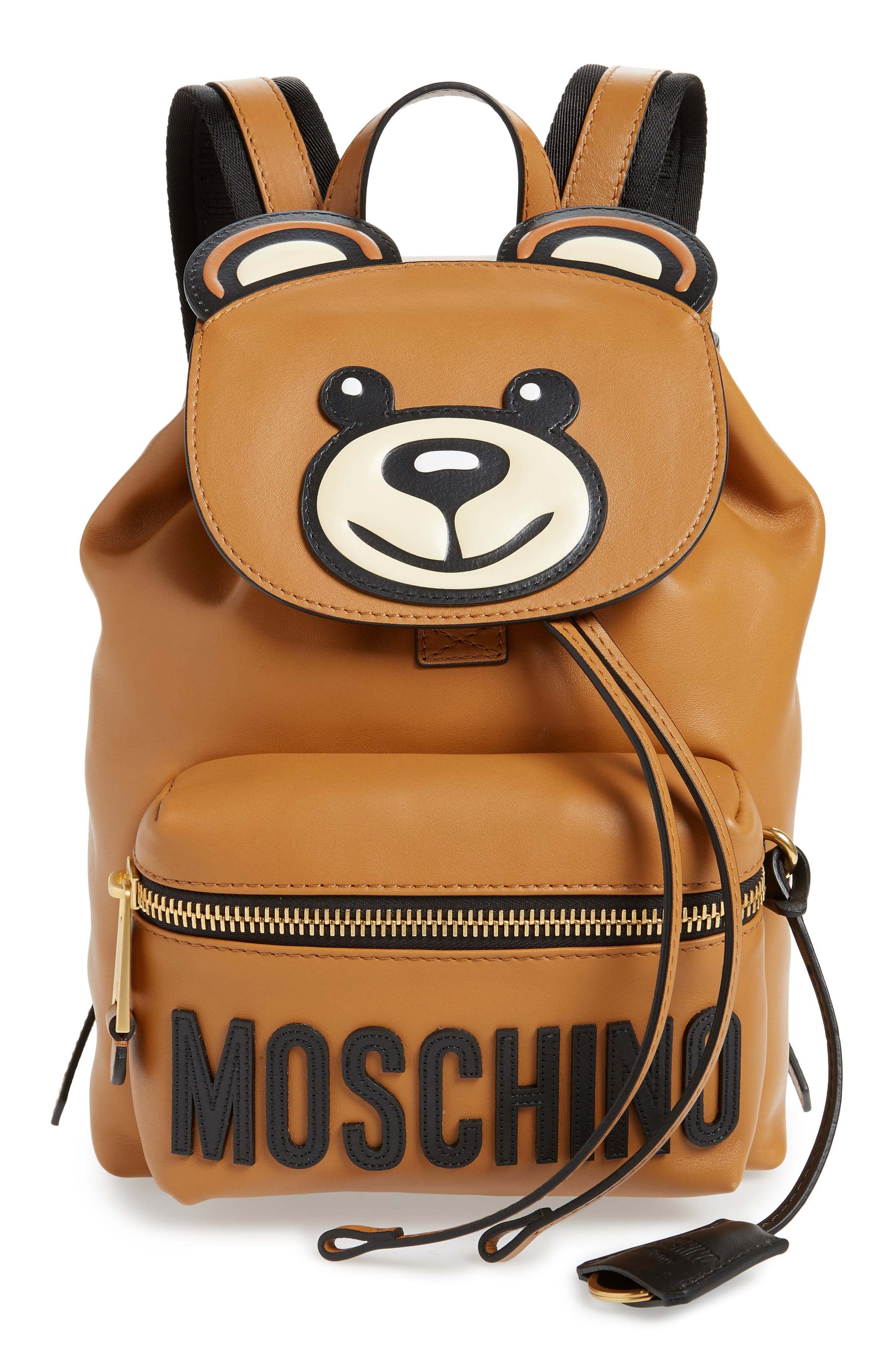 MOSCHINO, Teddy Bear Faux Leather Backpack, Main thumbnail 1, color, BROWN