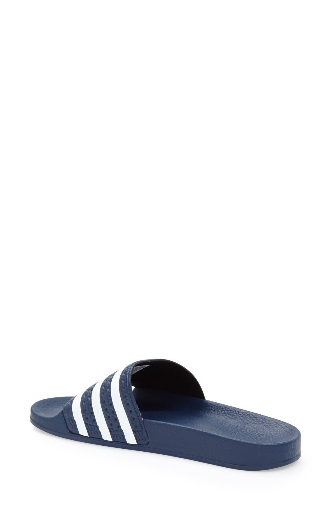 ADIDAS, 'Adilette' Slide Sandal, Alternate thumbnail 3, color, NEW NAVY/ WHITE