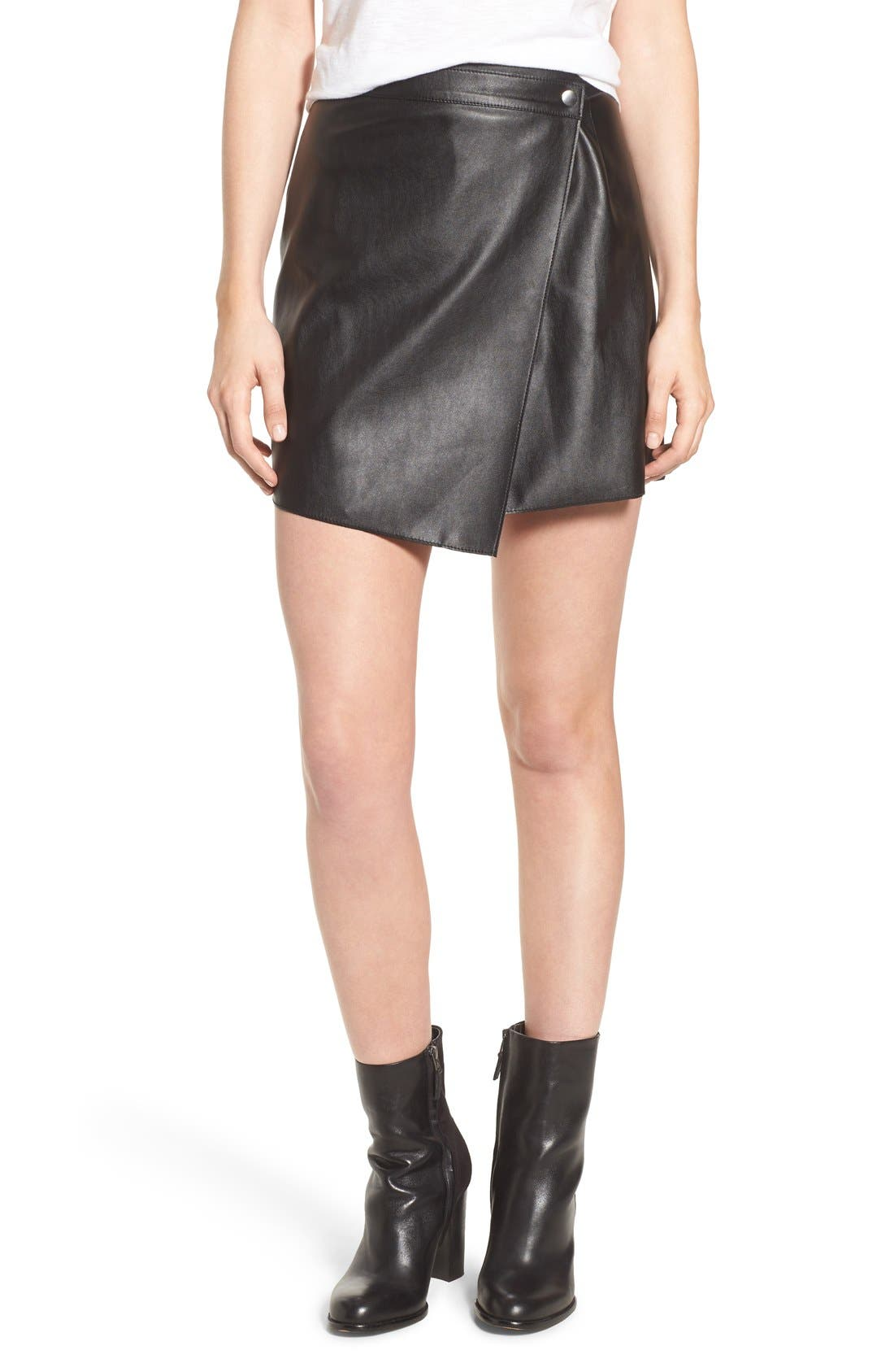 1.STATE, Faux Leather Wrap Skirt, Main thumbnail 1, color, 006