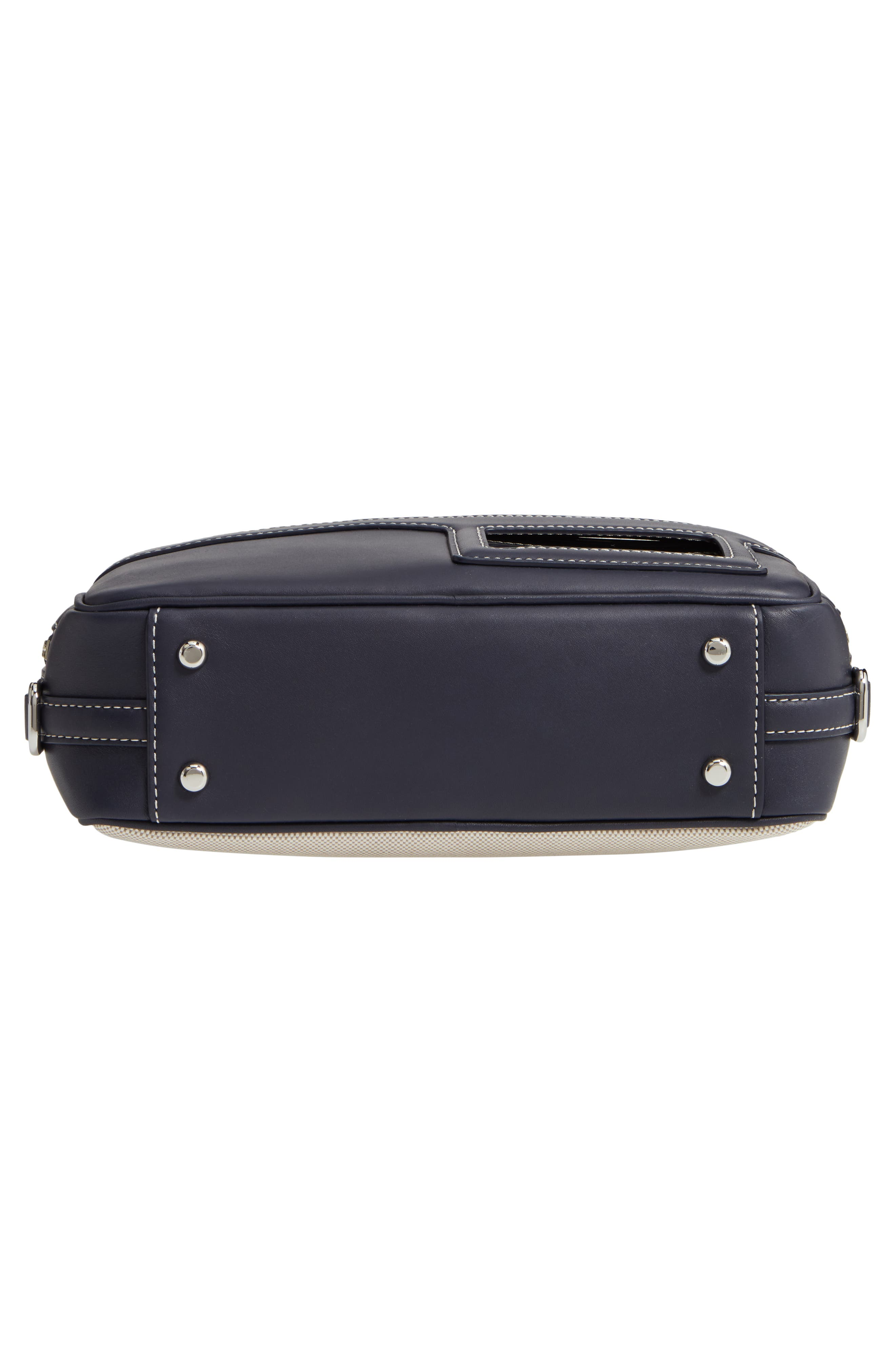 TORY BURCH, Leather & Canvas Camera Bag, Alternate thumbnail 7, color, MIDNIGHT