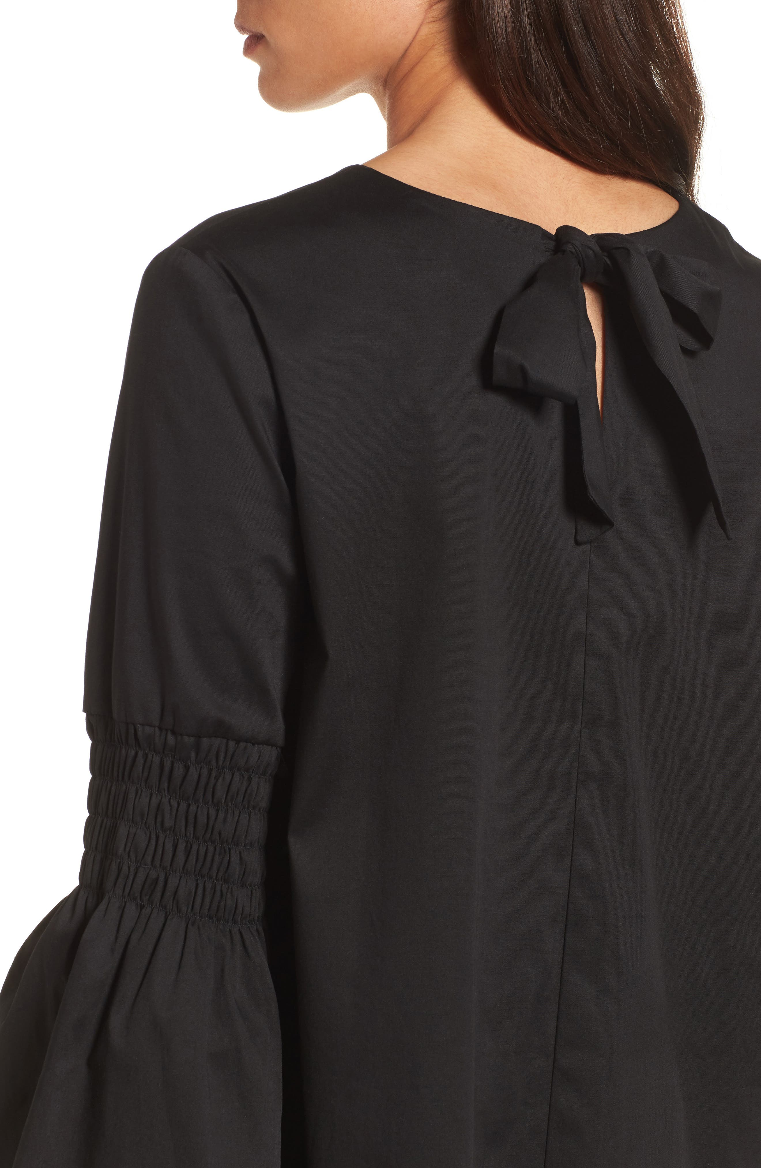 HALOGEN<SUP>®</SUP>, Bow Back Bell Sleeve Top, Alternate thumbnail 5, color, 001