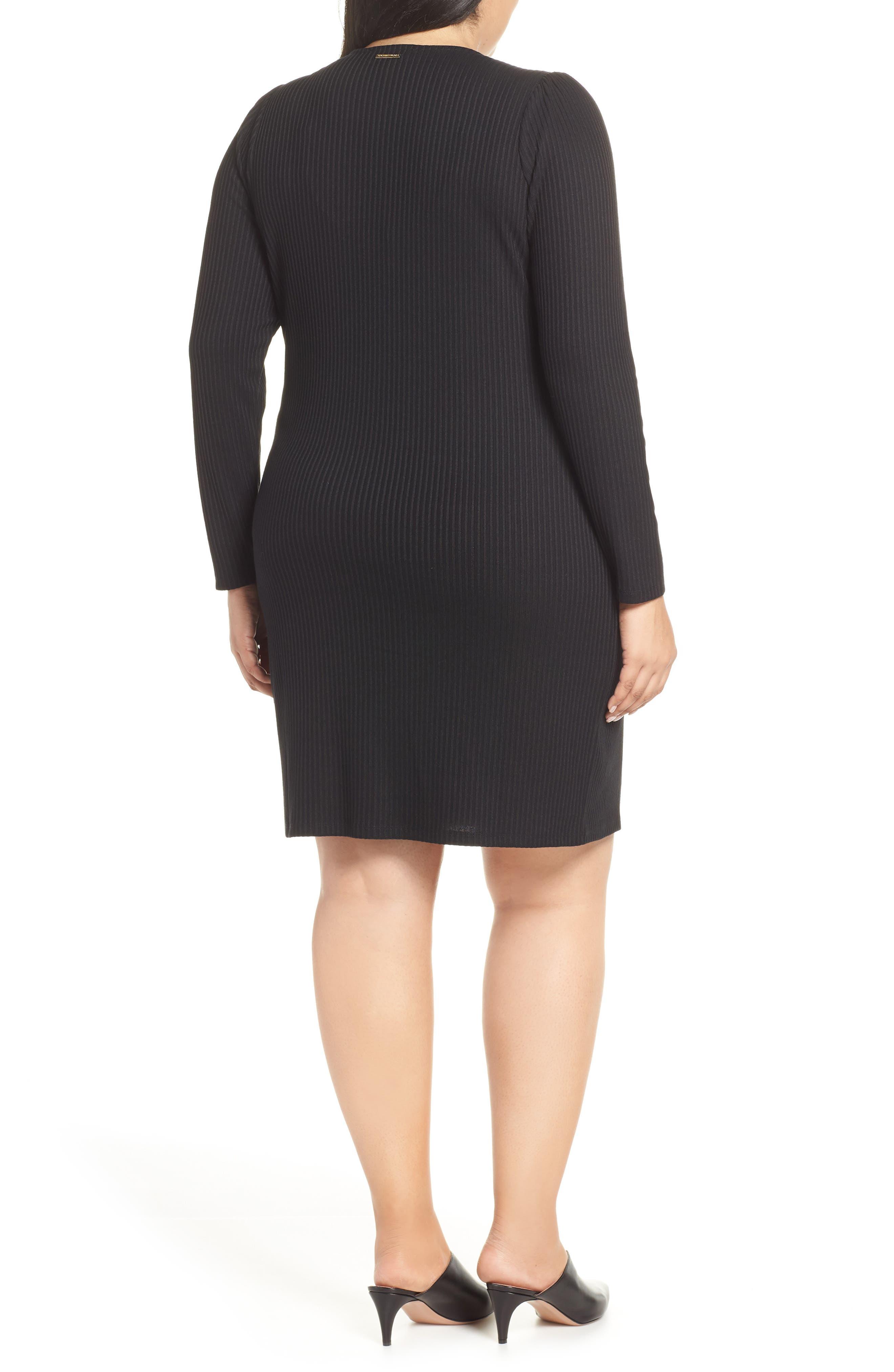 MICHAEL MICHAEL KORS, Chain Lace-Up V-Neck Sweater Dress, Alternate thumbnail 2, color, 001