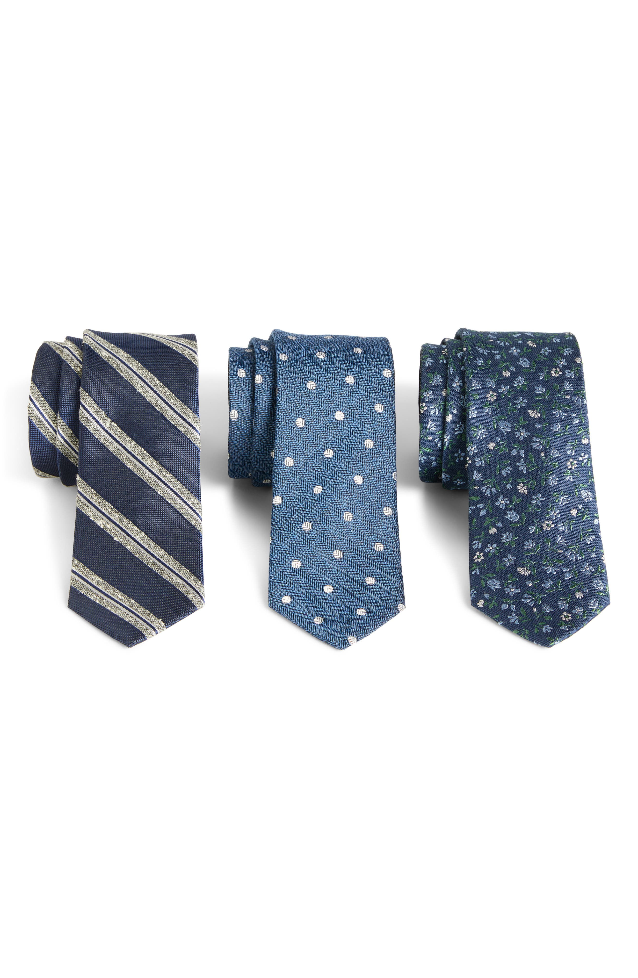 THE TIE BAR, 3-Pack Navy Tie Gift Set, Main thumbnail 1, color, NAVY