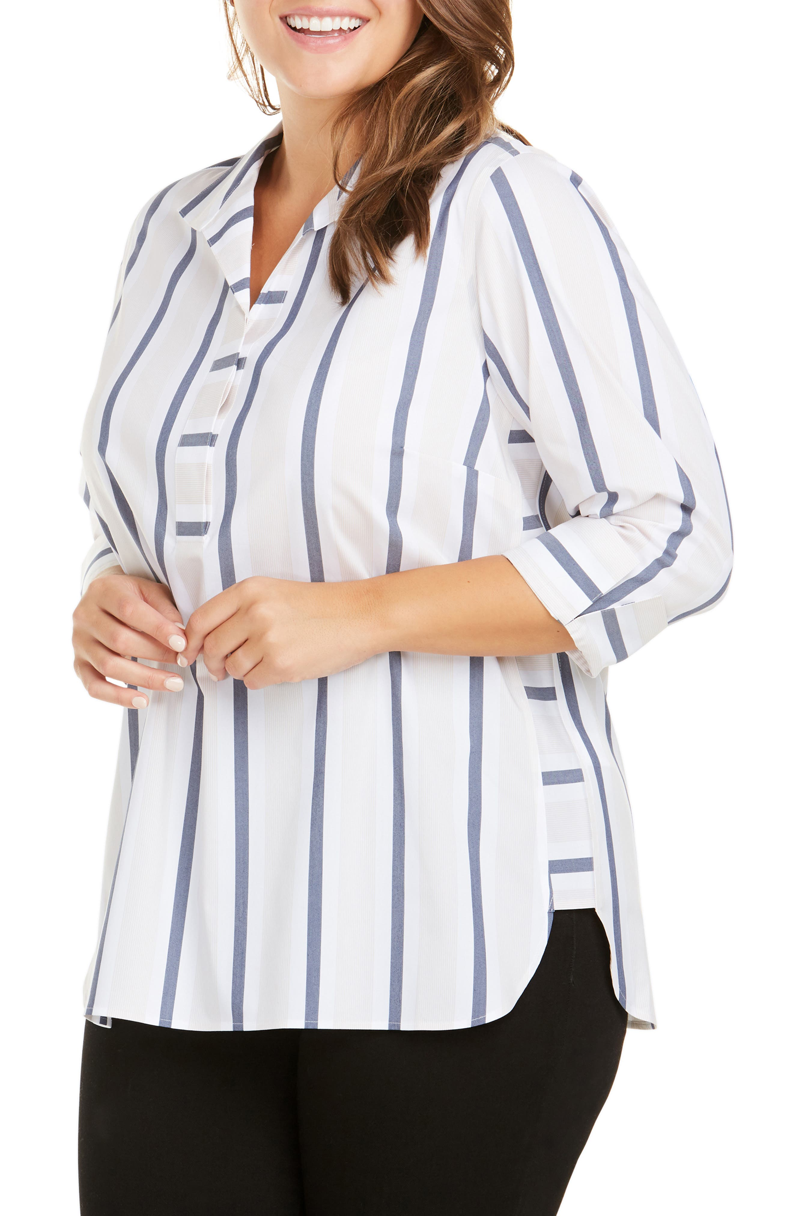 FOXCROFT, Dora Variegated Stripe Shirt, Main thumbnail 1, color, 400
