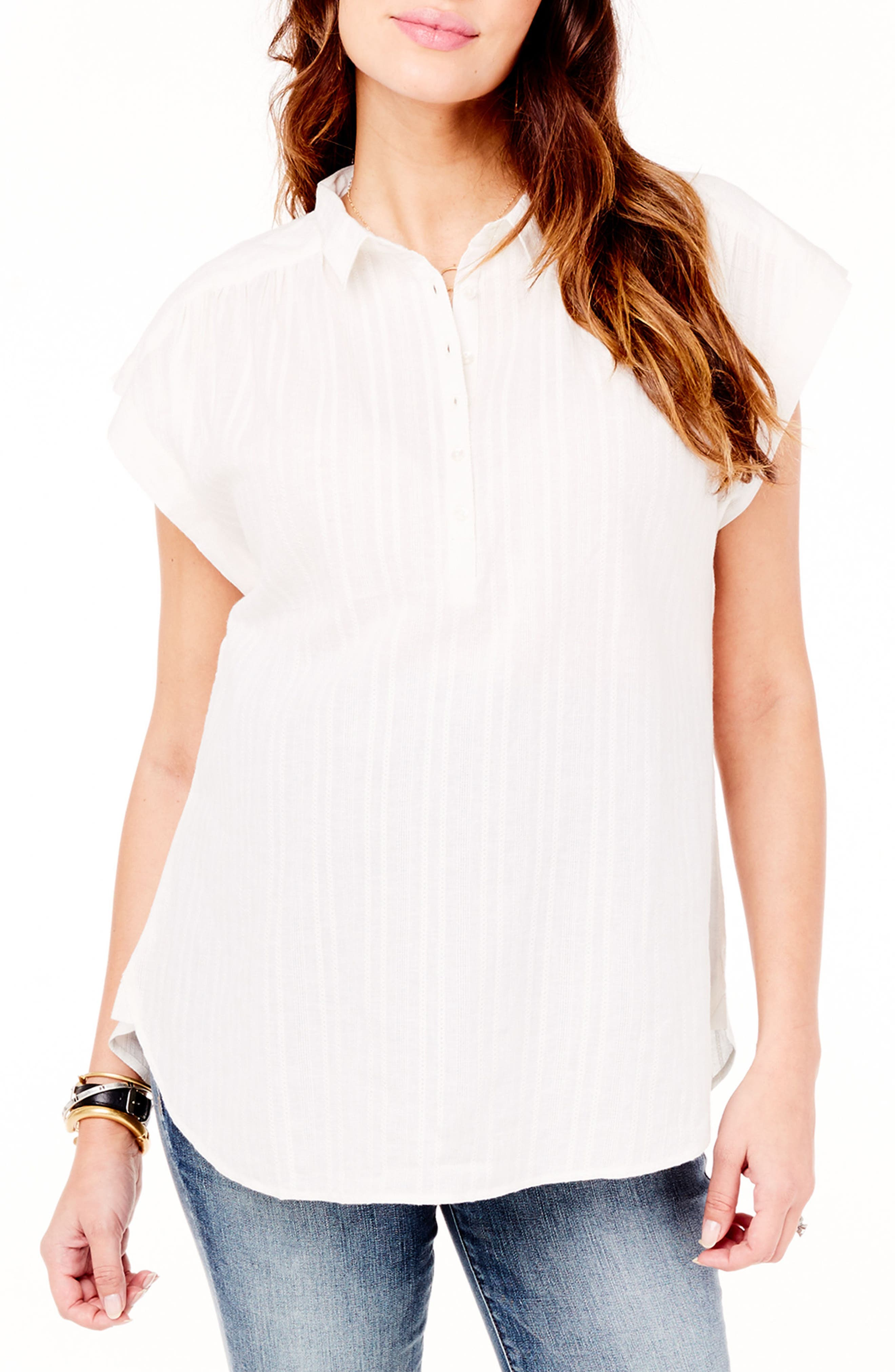 INGRID & ISABEL<SUP>®</SUP>, Boxy Maternity Top, Main thumbnail 1, color, WHITE