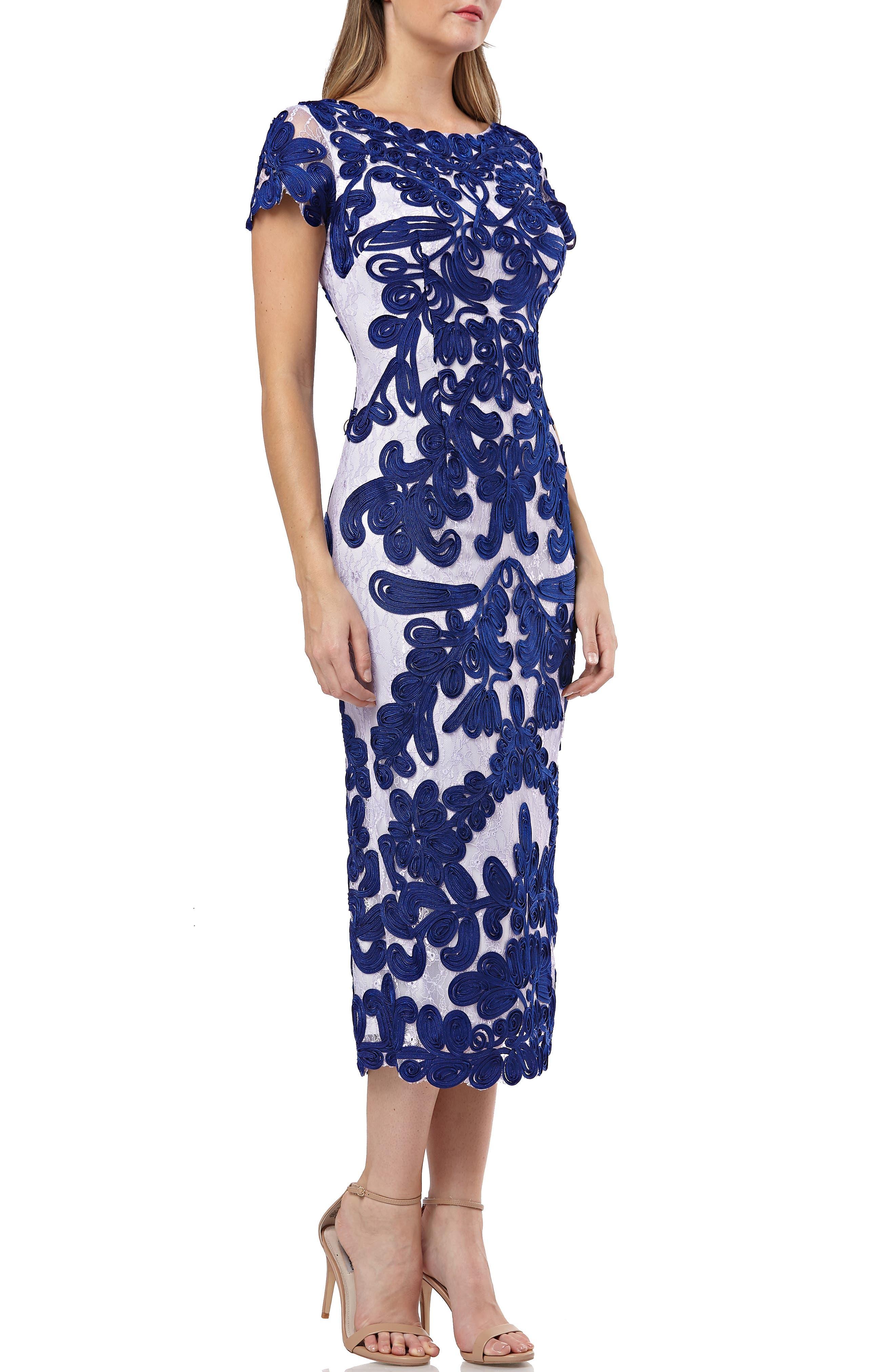 Js Collections Soutache Lace Midi Dress, Blue