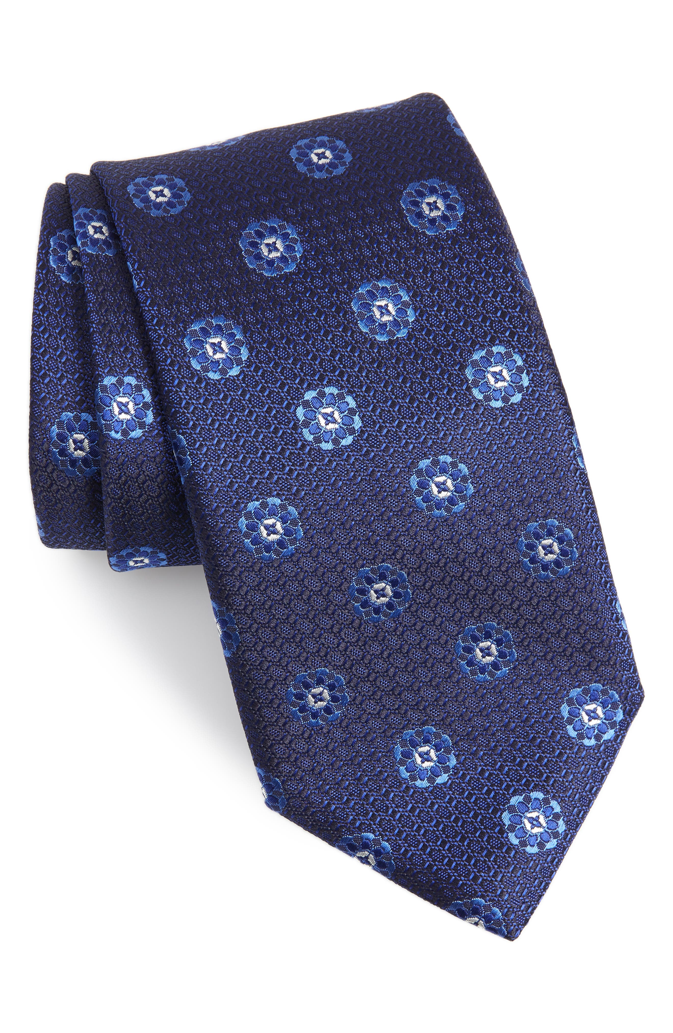 CANALI, Medallion Silk Tie, Main thumbnail 1, color, NAVY