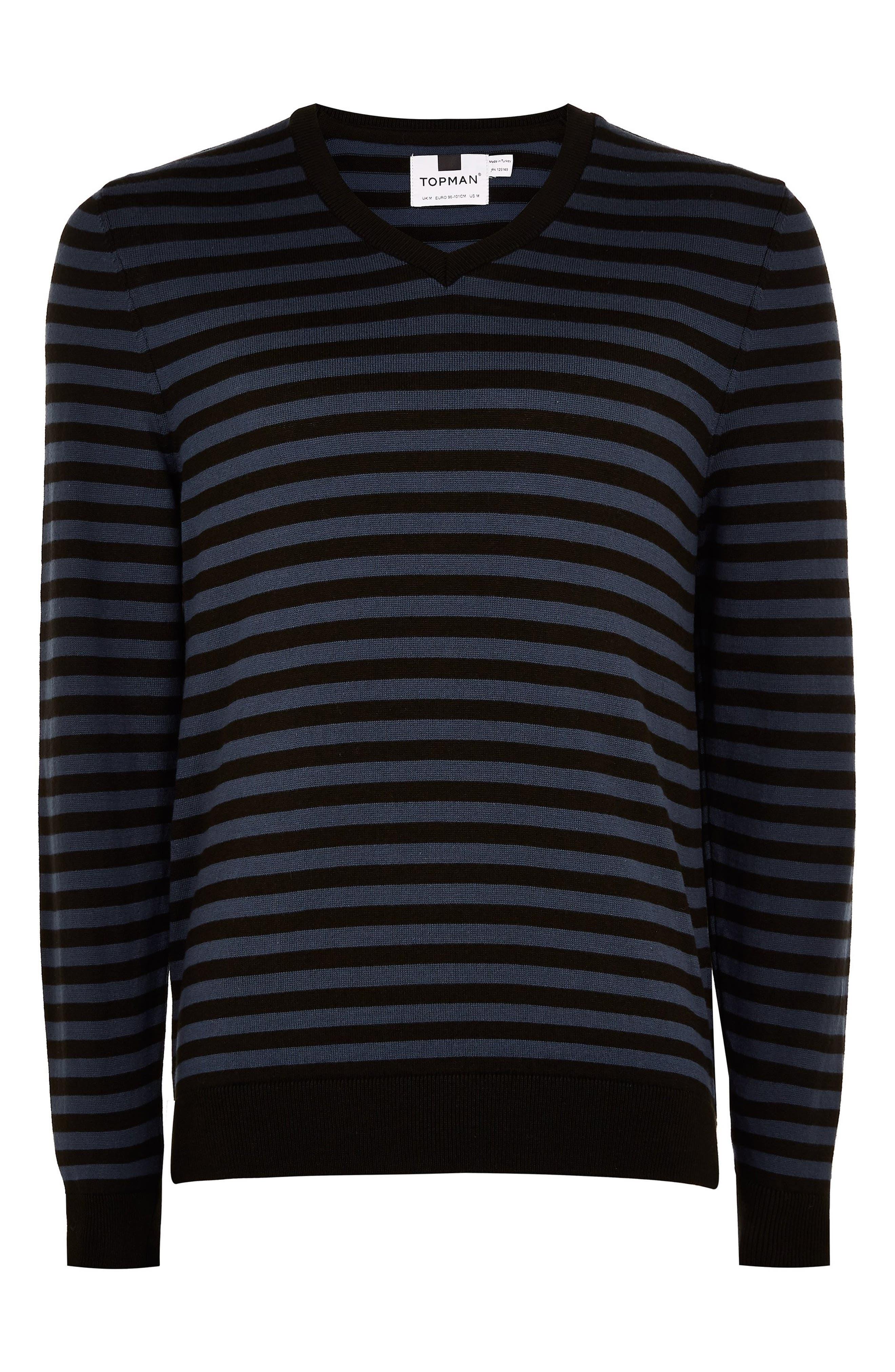 TOPMAN, Stripe V-Neck Sweater, Alternate thumbnail 3, color, BLUE MULTI