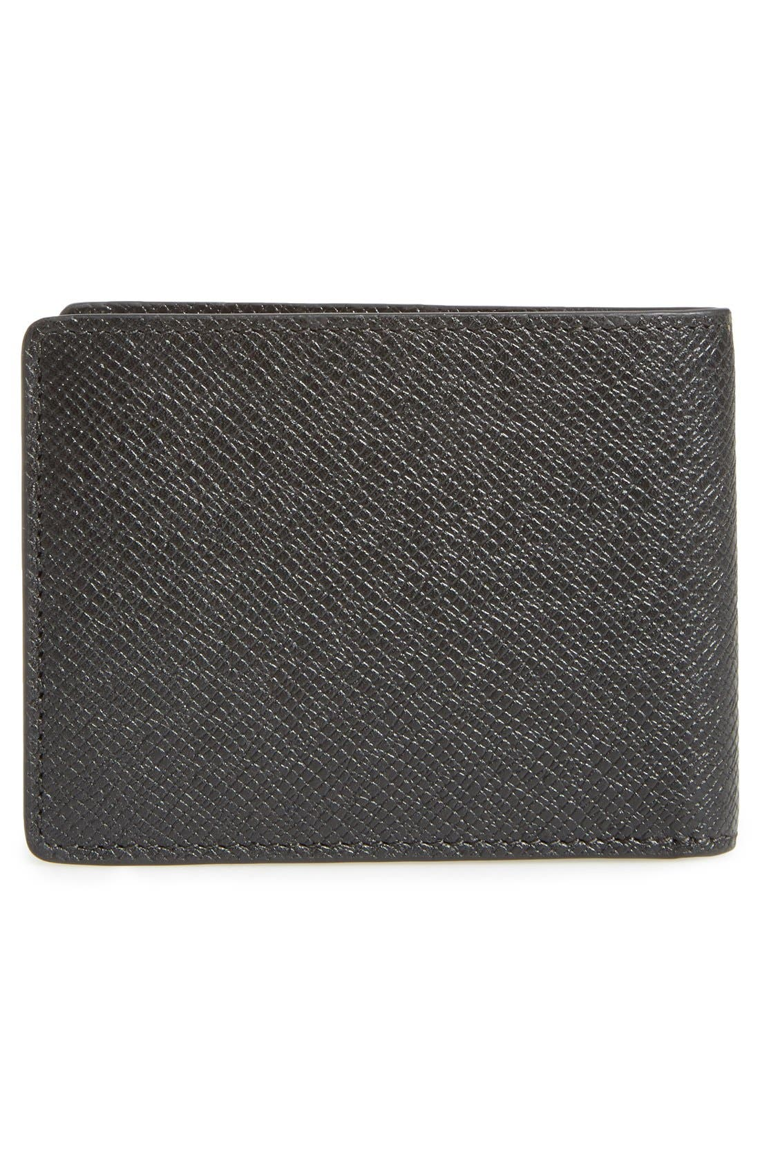 BOSS, 'Signature' Bifold Calfskin Leather Wallet, Alternate thumbnail 3, color, BLACK