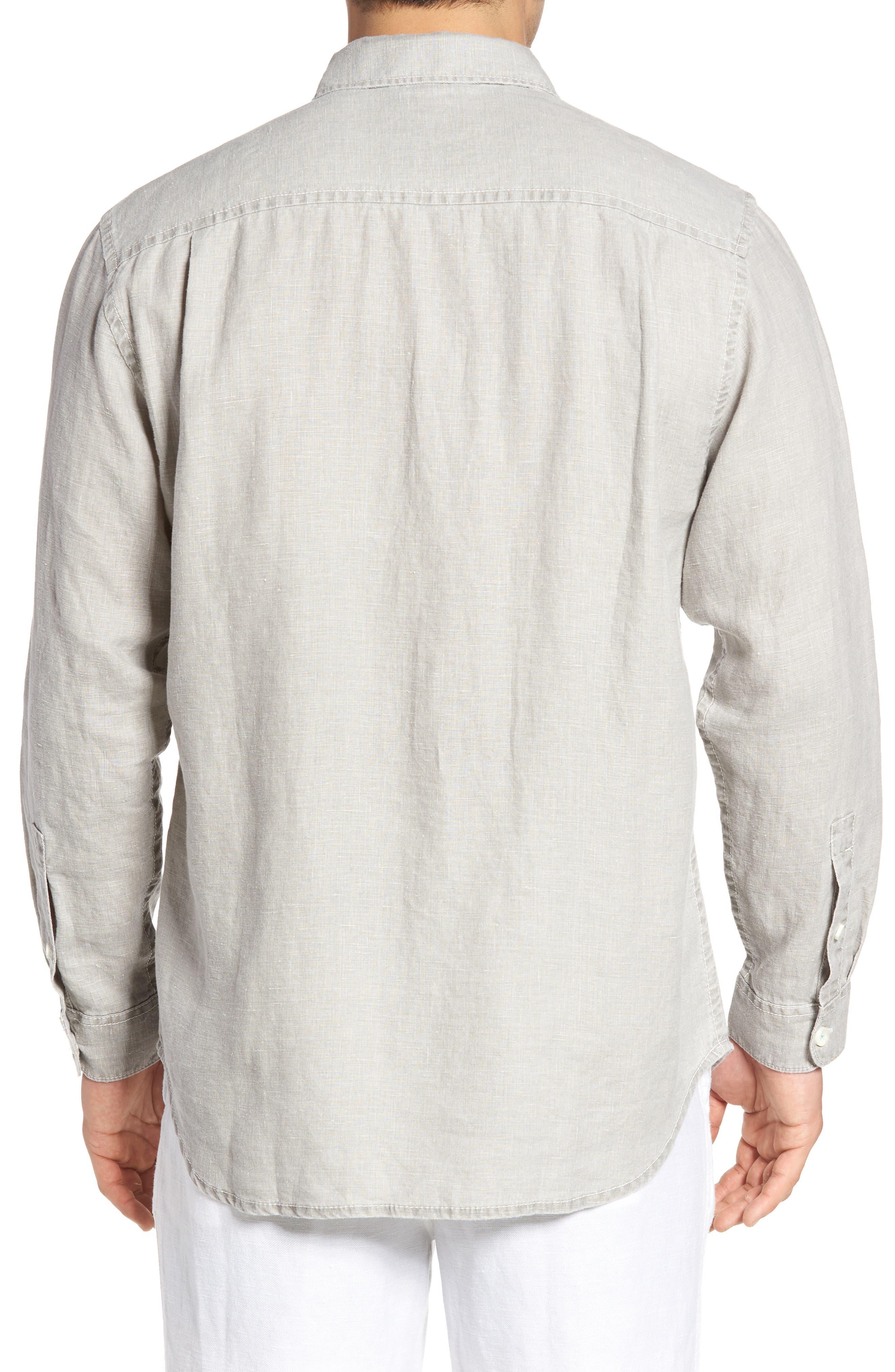 TOMMY BAHAMA, 'Sea Glass Breezer' Original Fit Linen Shirt, Alternate thumbnail 2, color, LIGHT GREY
