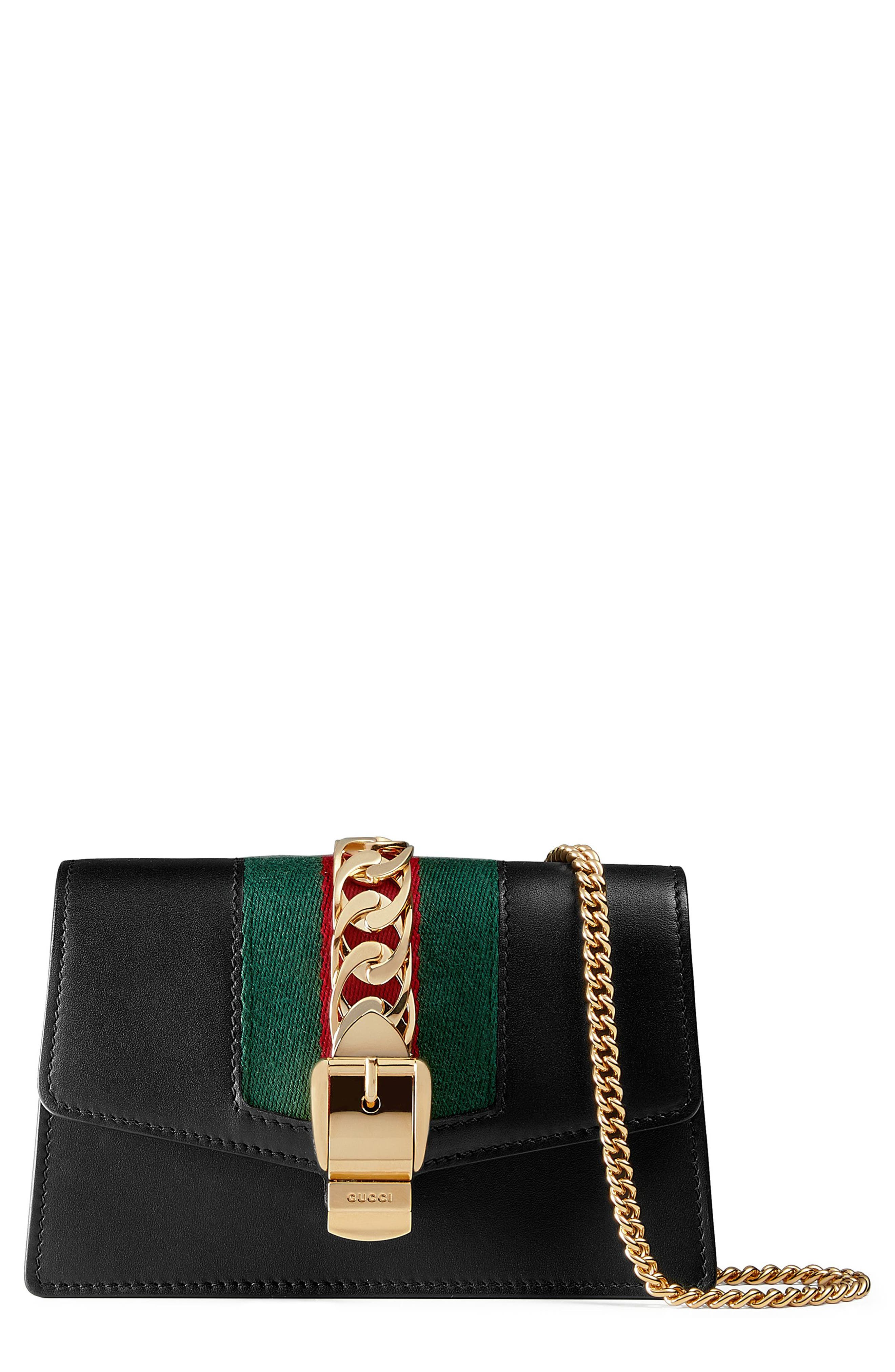 GUCCI, Super Mini Sylvie Chain Wallet, Main thumbnail 1, color, 001
