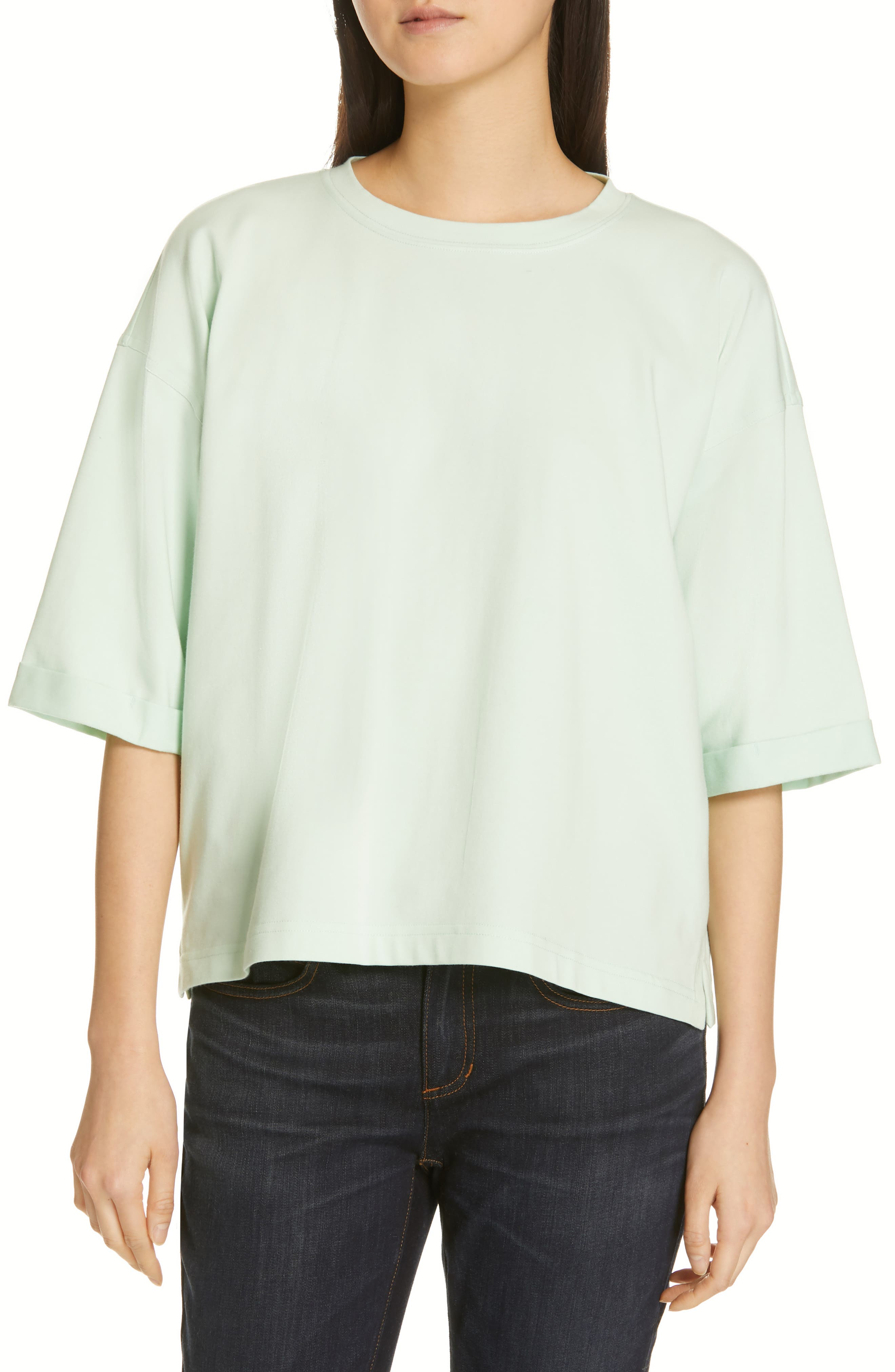 EILEEN FISHER, Stretch Organic Cotton Top, Main thumbnail 1, color, PRISM