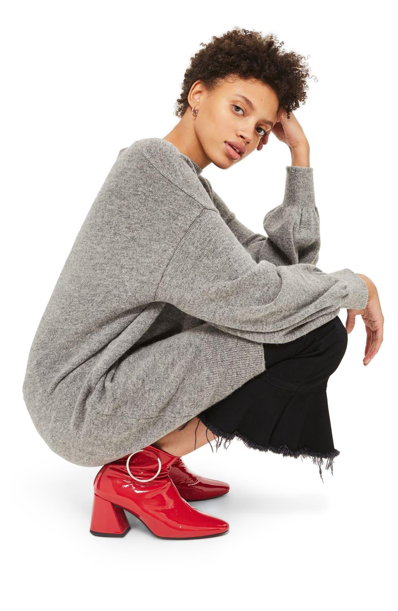 TOPSHOP, Sweater Dress, Alternate thumbnail 3, color, 021