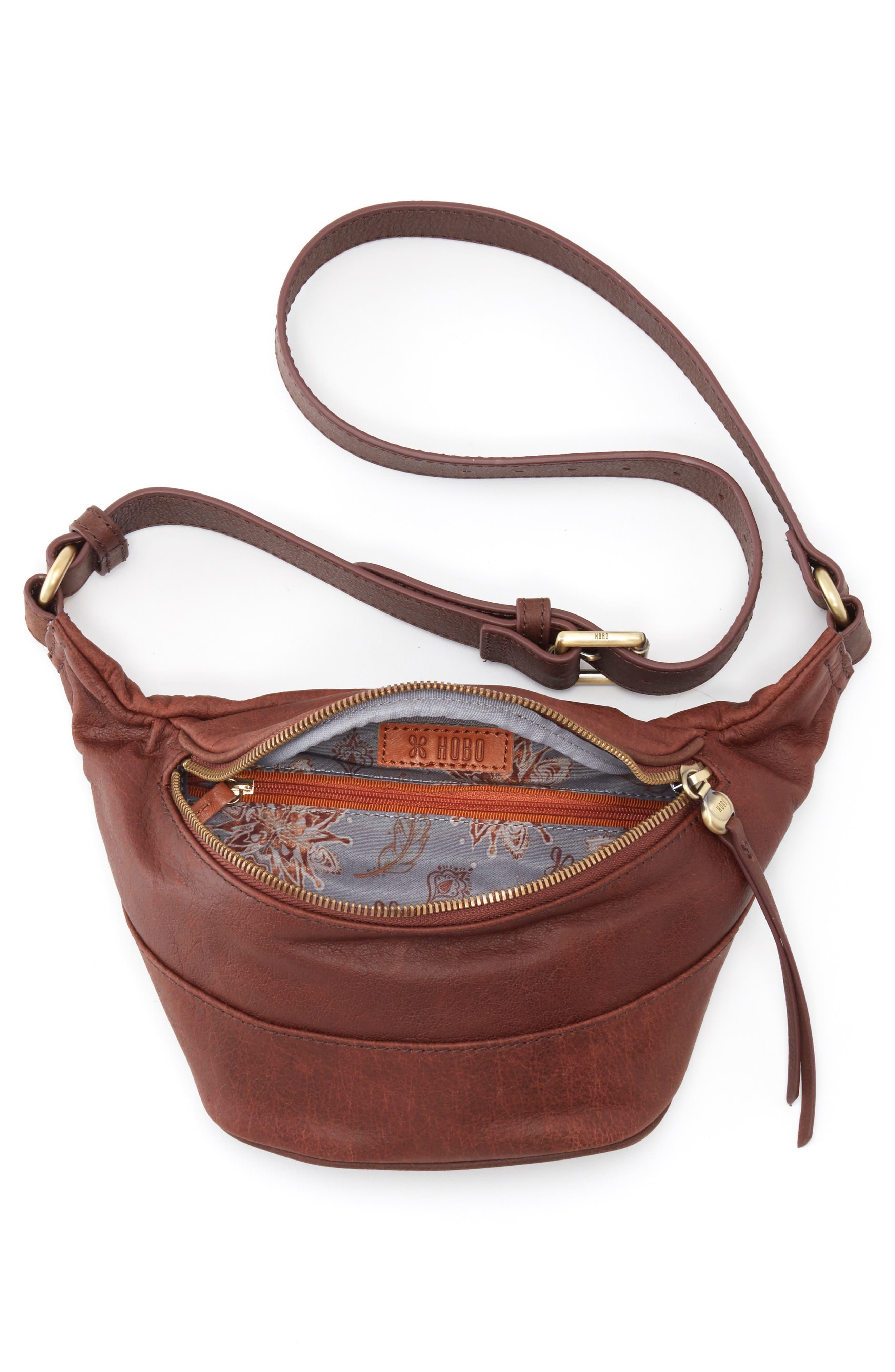 HOBO, Jett Leather Belt Bag, Alternate thumbnail 3, color, CHESTNUT