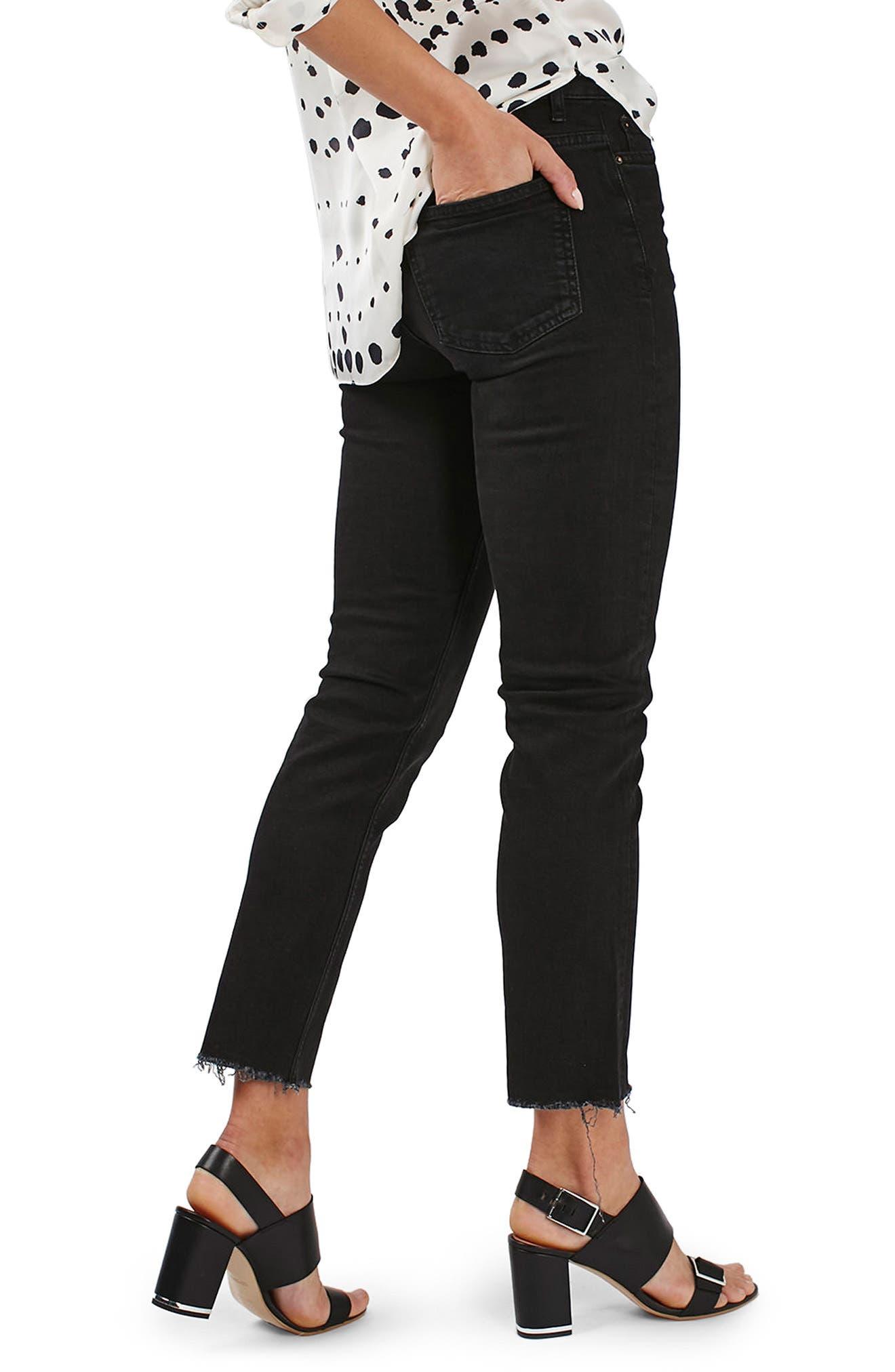 TOPSHOP, Raw Hem Straight Leg Jeans, Alternate thumbnail 2, color, WASHED BLACK
