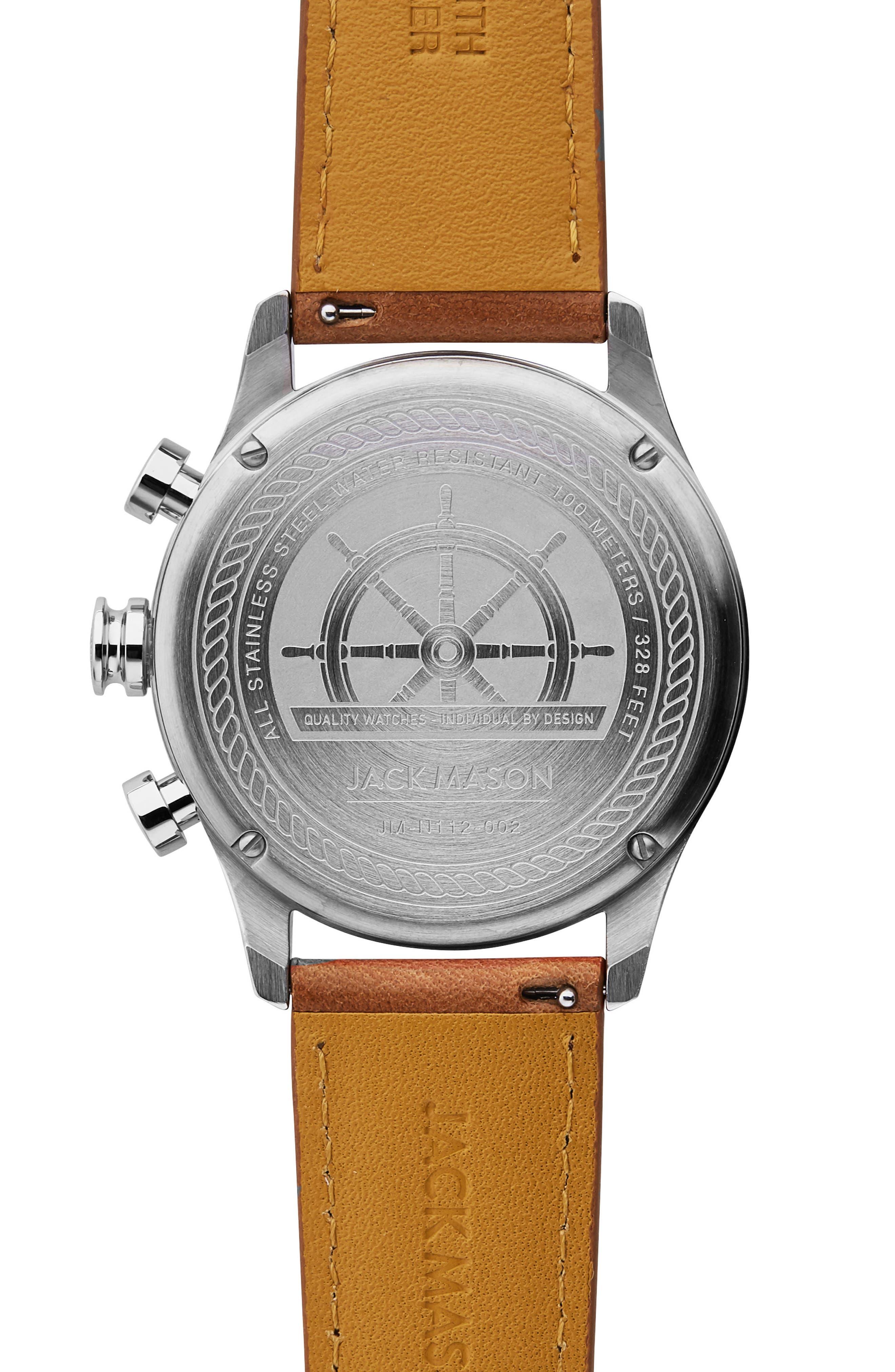 JACK MASON, Nautical Chronograph Leather Strap Watch, 42mm, Alternate thumbnail 2, color, GREY/ BROWN