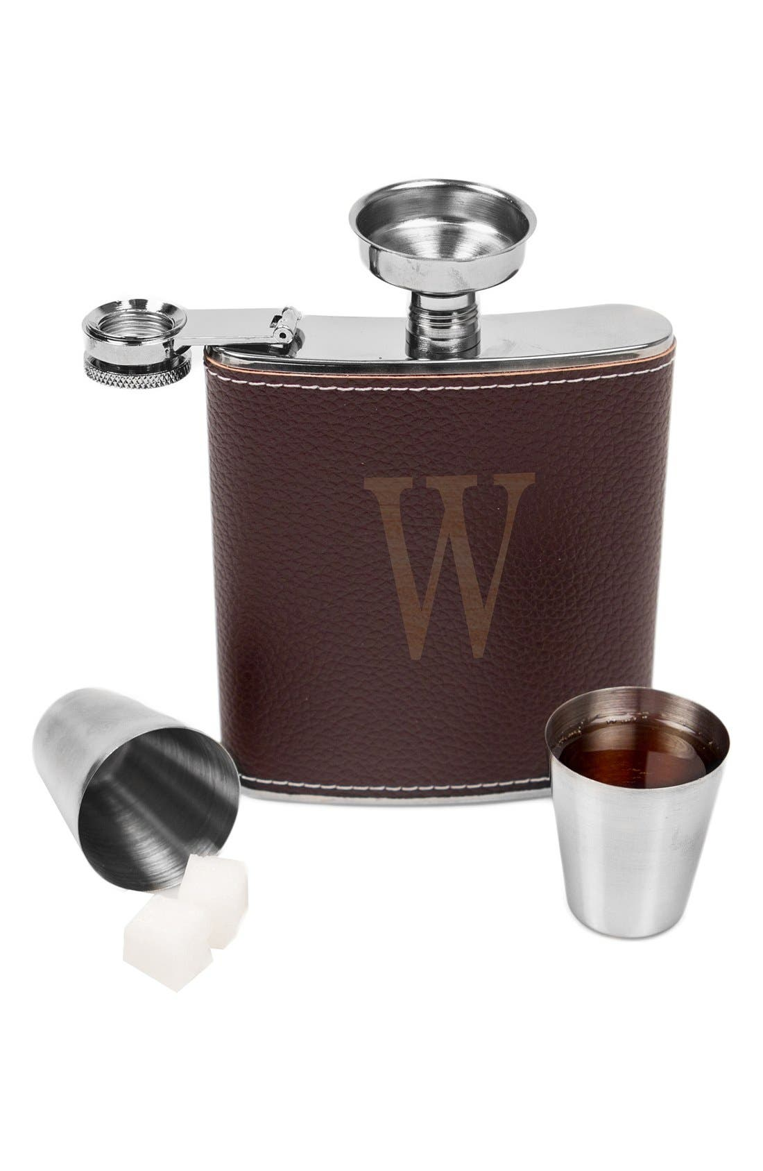 CATHY'S CONCEPTS, Monogram Flask Set, Alternate thumbnail 2, color, BROWN - A
