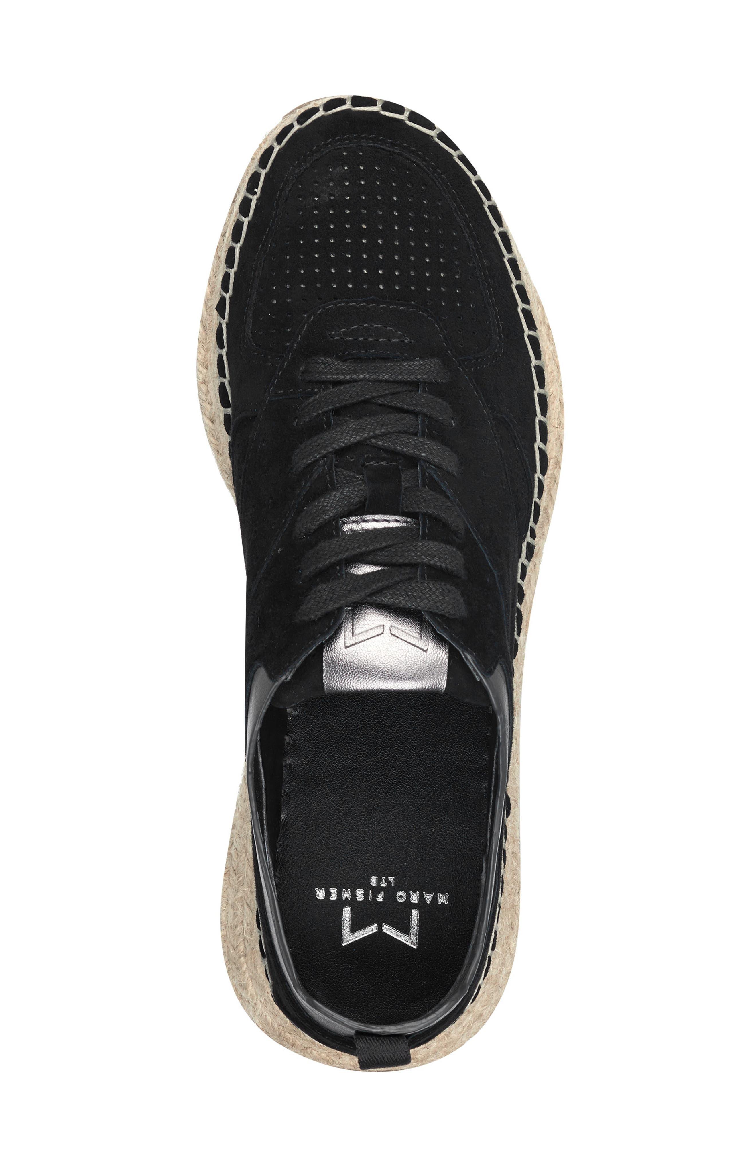 MARC FISHER LTD, Julio Sneaker, Alternate thumbnail 5, color, BLACK SUEDE