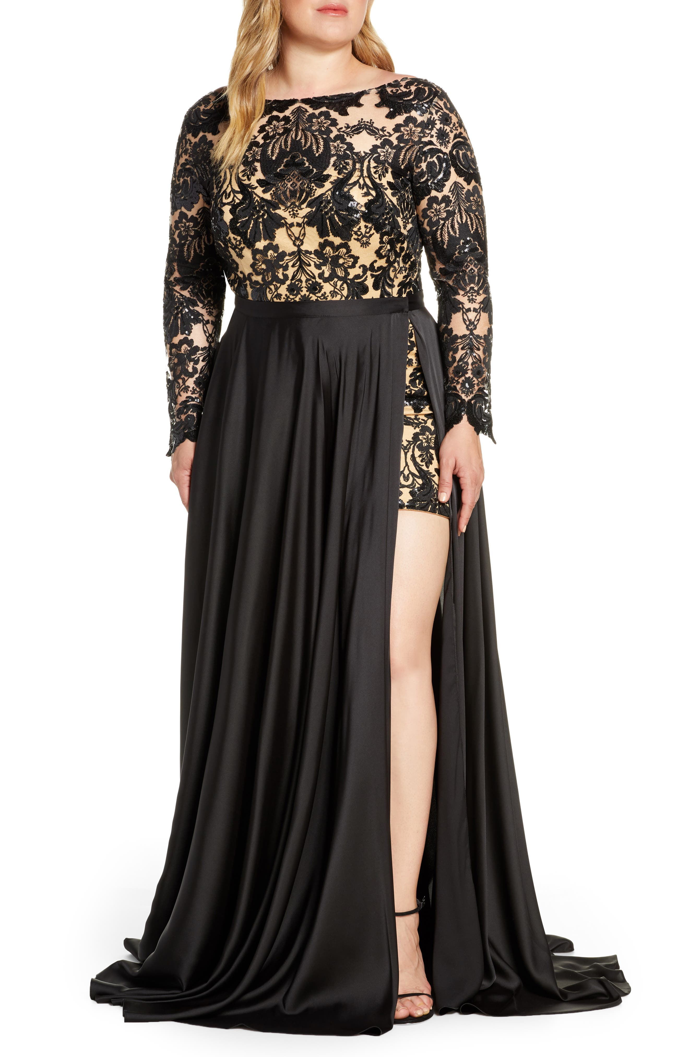 Plus Size MAC Duggal Floral Sequin Long Sleeve Romper With Satin Overskirt, Black