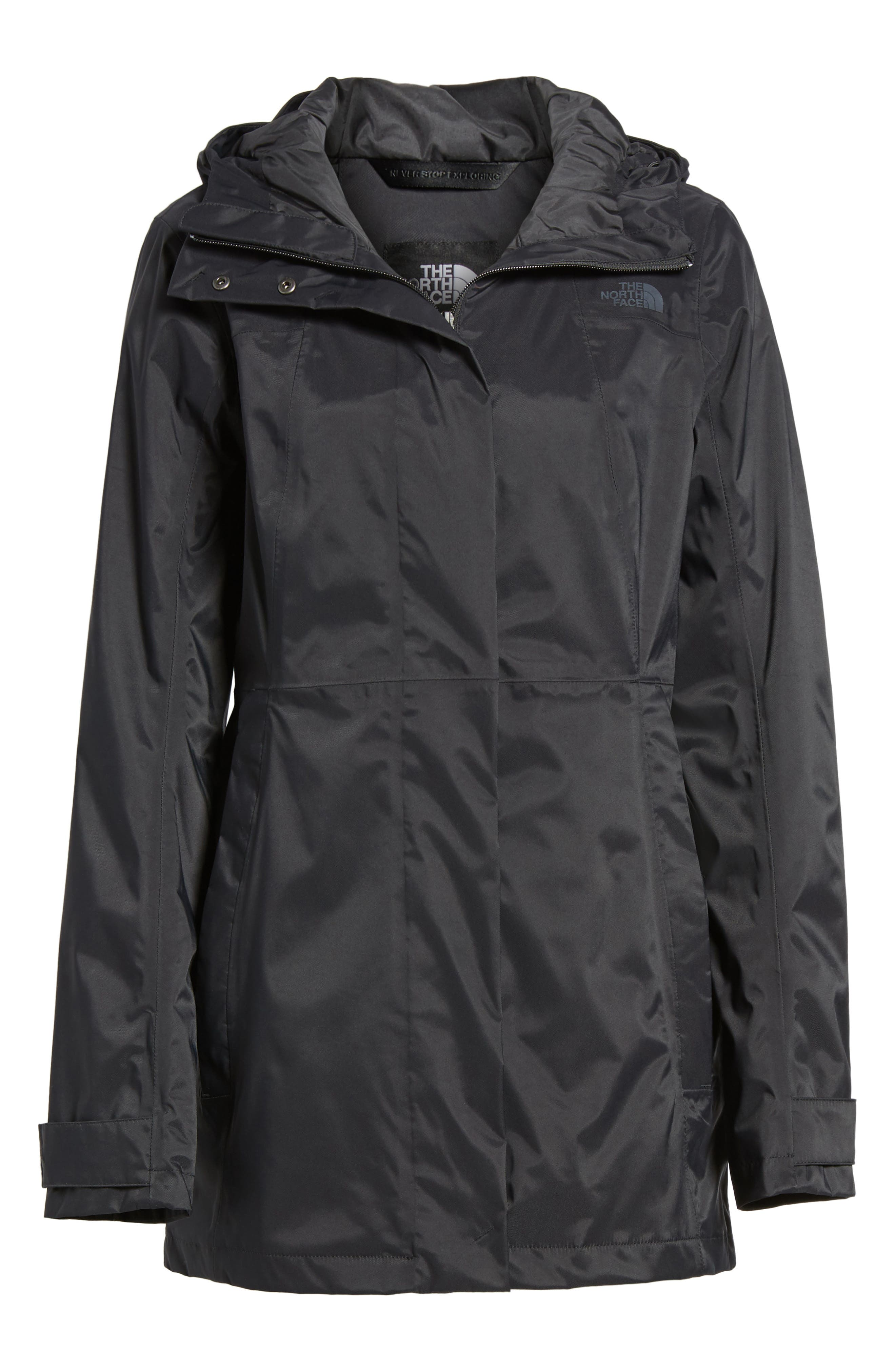 THE NORTH FACE, City Midi Trench Coat, Alternate thumbnail 6, color, 001