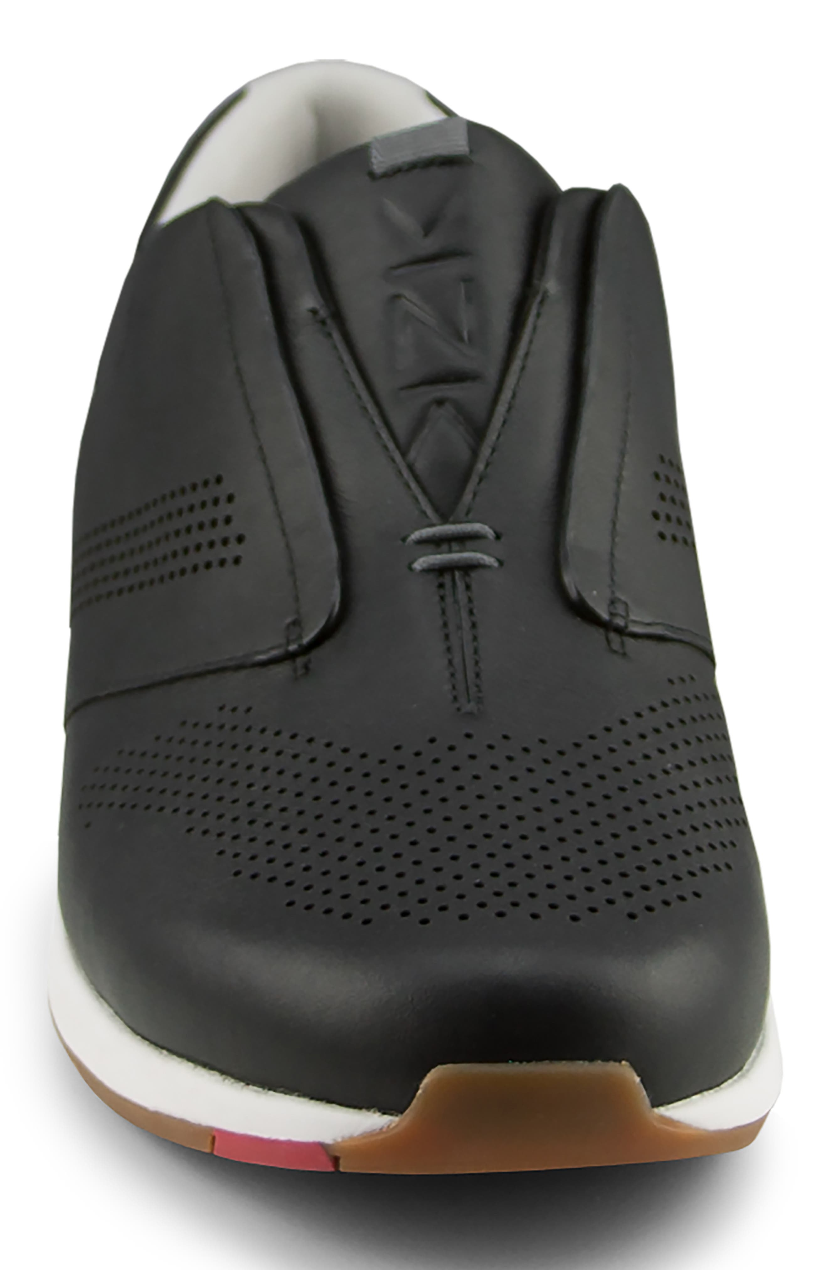 KIZIK, Dubai Slip-On Sneaker, Alternate thumbnail 3, color, BLACK LEATHER