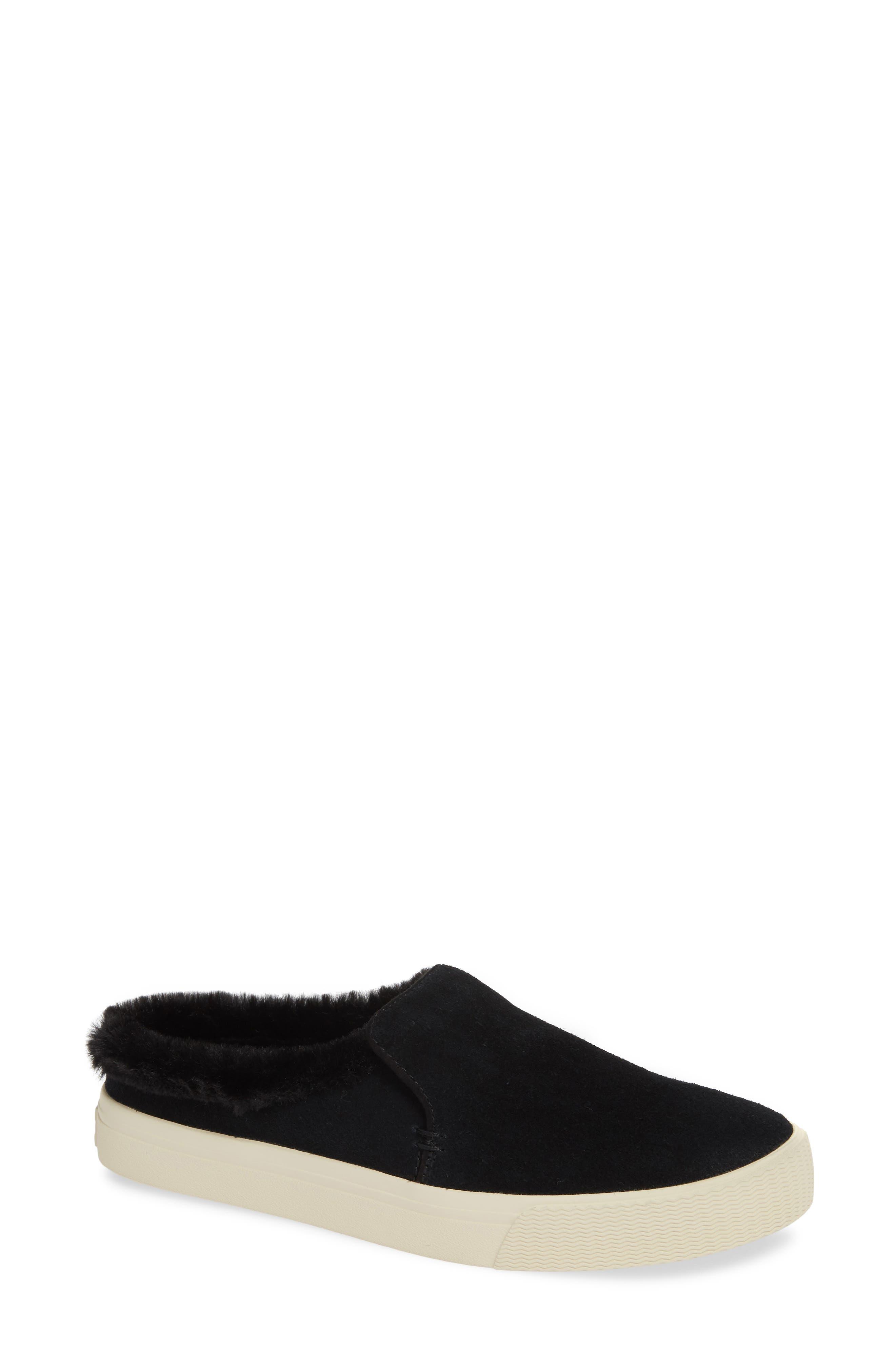 TOMS, Sunrise Faux Fur Lined Slip-On Sneaker, Main thumbnail 1, color, BLACK SUEDE