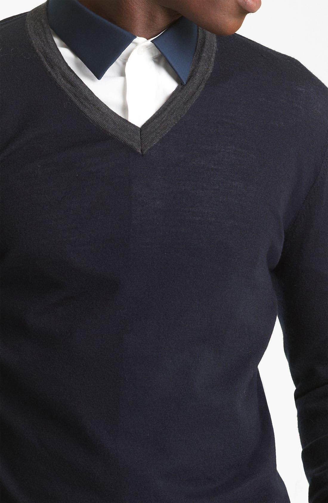 KENZO, V-Neck Sweater, Alternate thumbnail 2, color, 410
