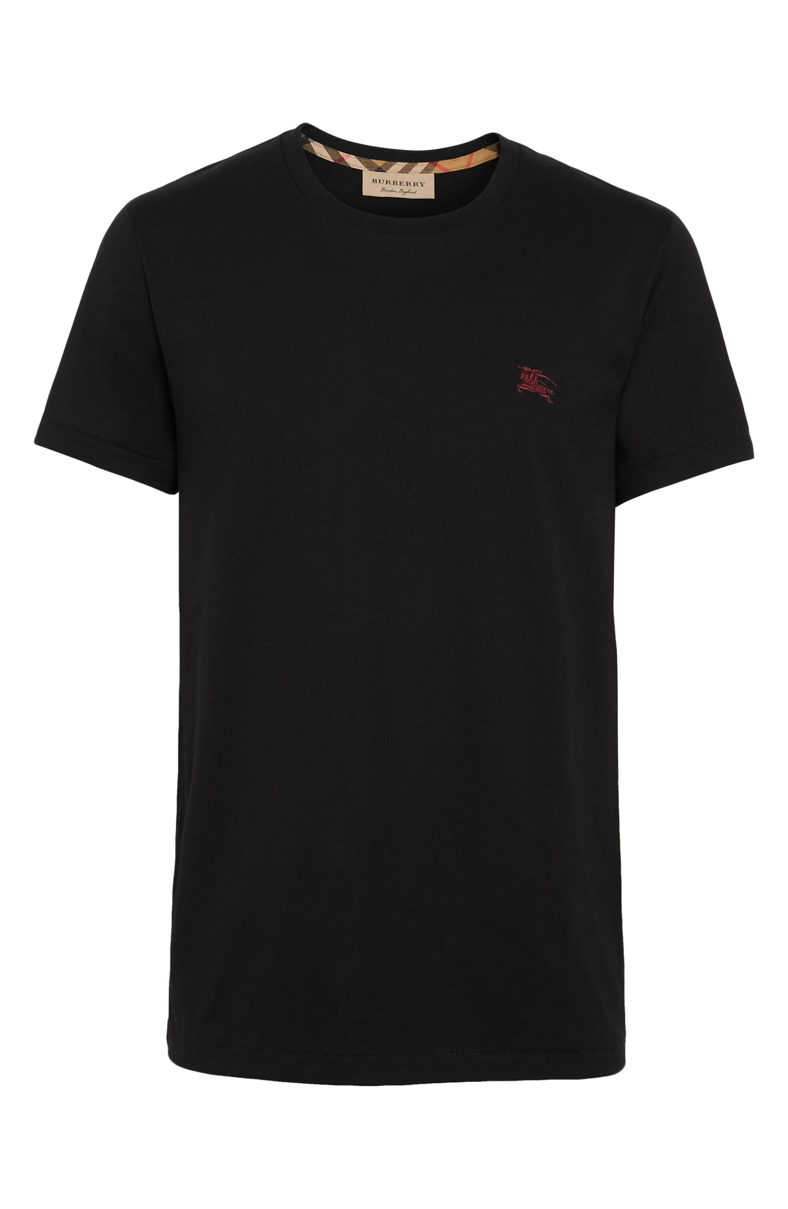 BURBERRY, Logo Embroidered Crewneck T-shirt, Alternate thumbnail 4, color, TRUE BLACK