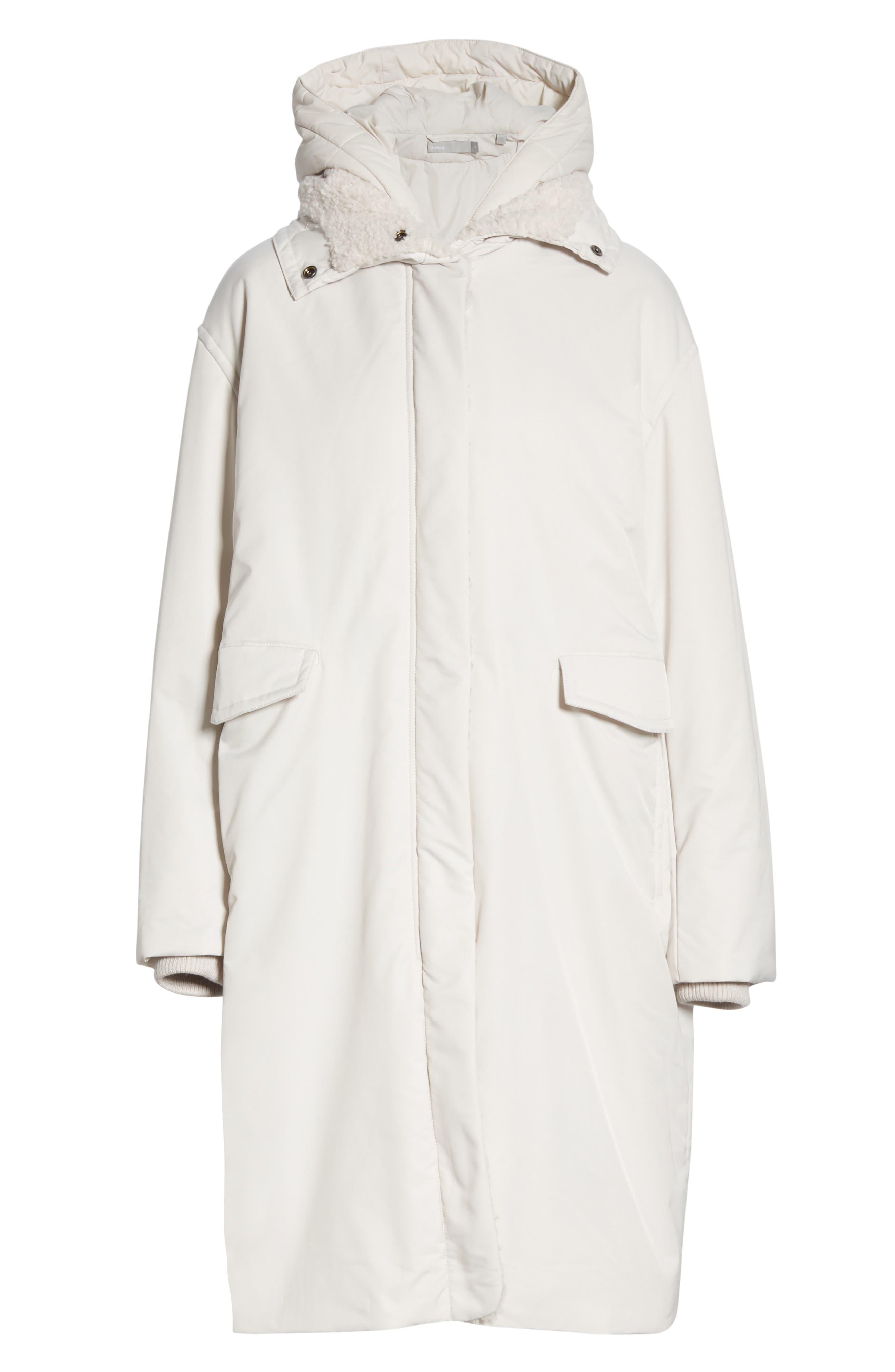 VINCE, Faux Fur Trim Puffer Coat, Alternate thumbnail 5, color, LUCITE
