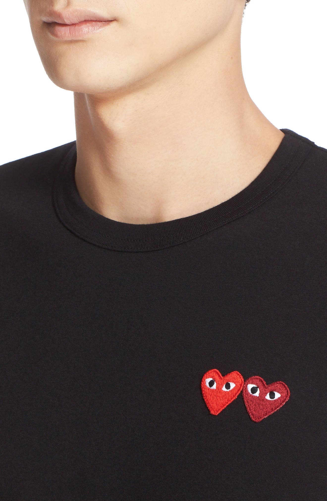 COMME DES GARÇONS PLAY, Twin Hearts Jersey T-Shirt, Alternate thumbnail 4, color, BLACK