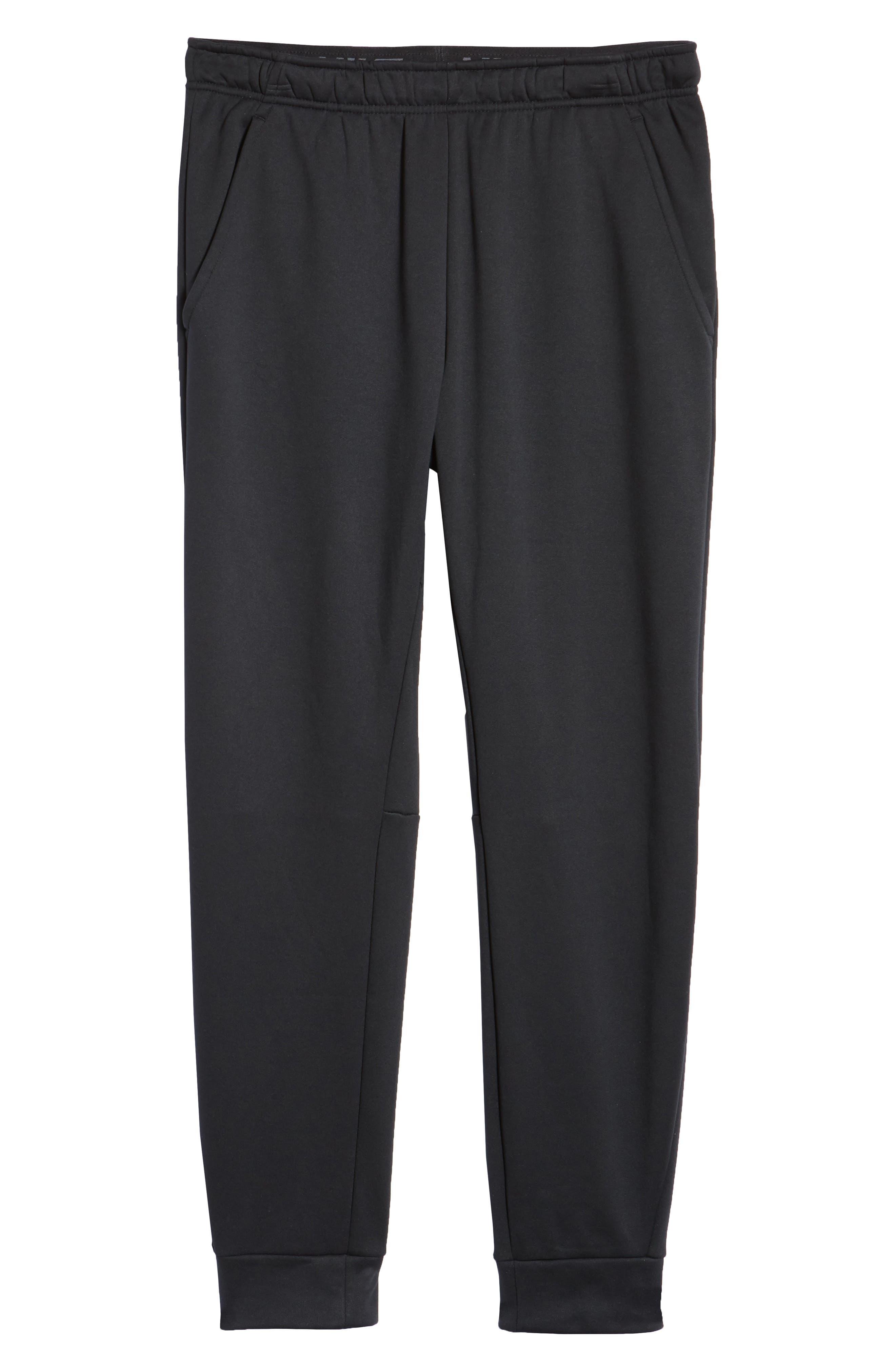 NIKE, Therma Tapered Pants, Alternate thumbnail 7, color, BLACK/ WHITE