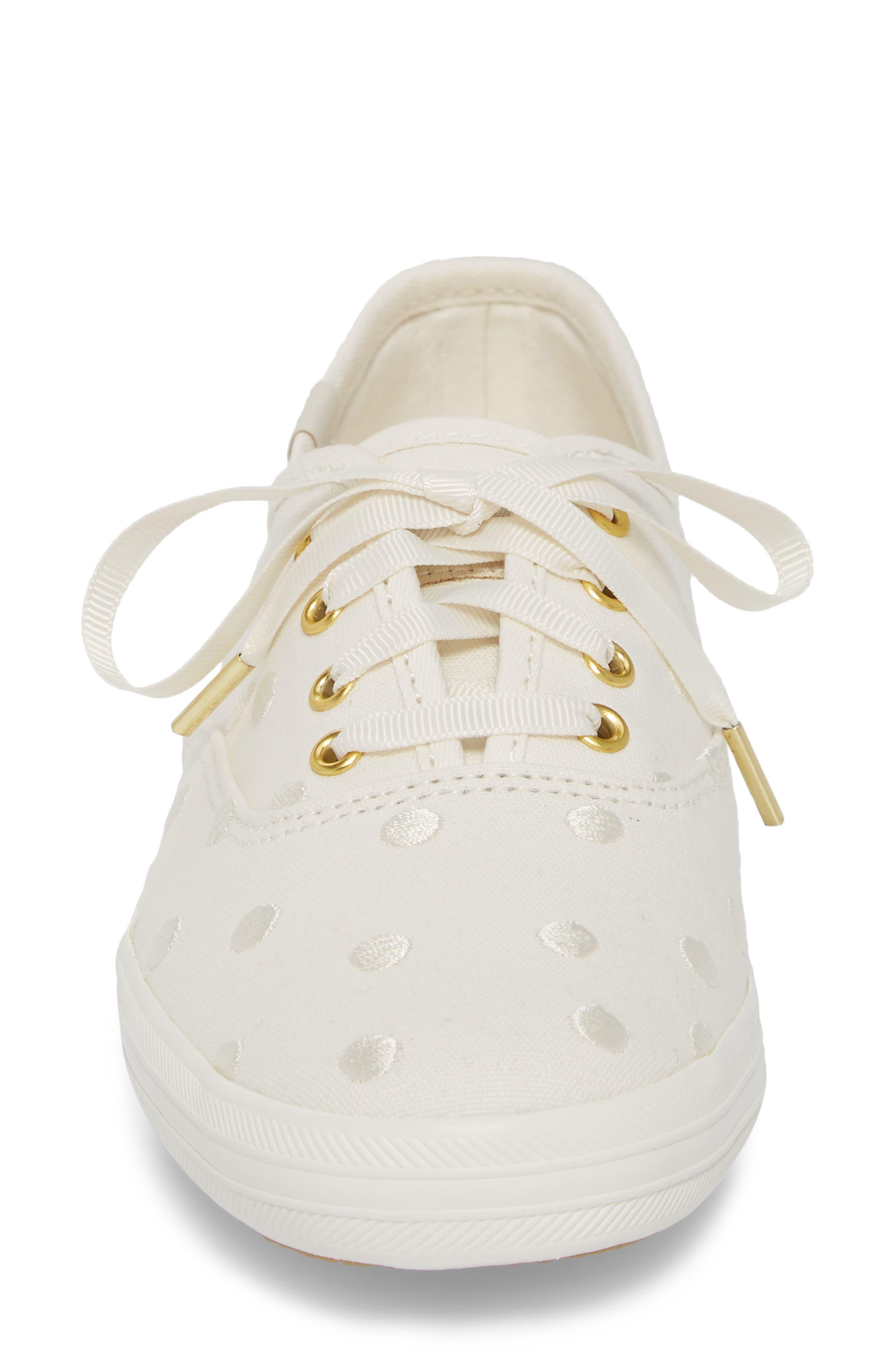 KEDS<SUP>®</SUP> FOR KATE SPADE NEW YORK, champion dancing dot sneaker, Alternate thumbnail 4, color, WHITE