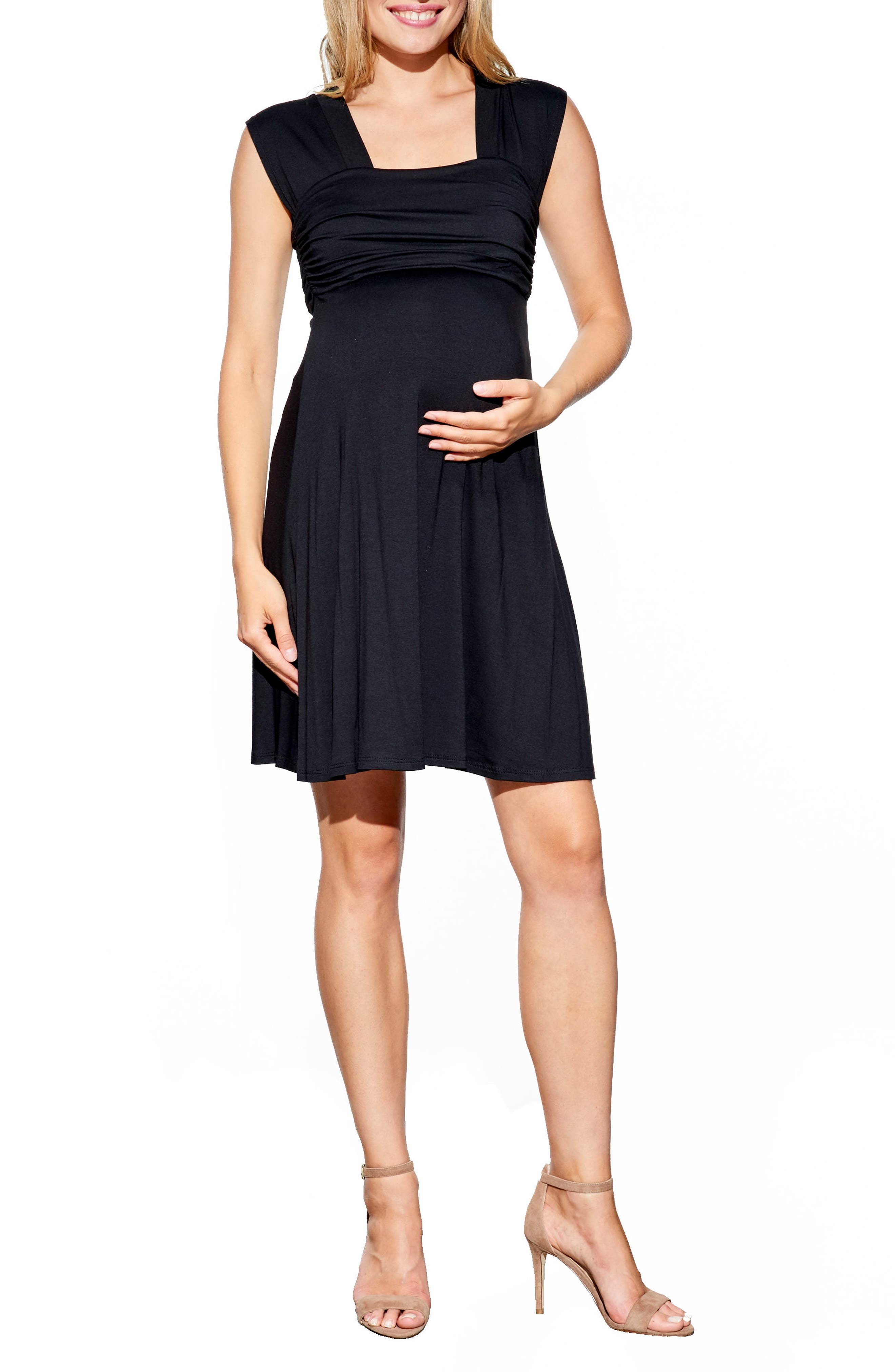 MATERNAL AMERICA, 'Mini Sweetheart' Dress, Main thumbnail 1, color, BLACK