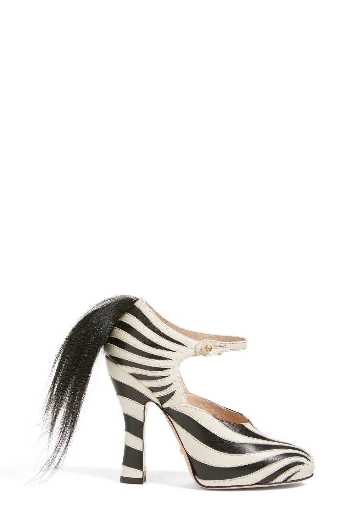 GUCCI, 'Lesley' Zebra Stripe Pump, Alternate thumbnail 4, color, 124