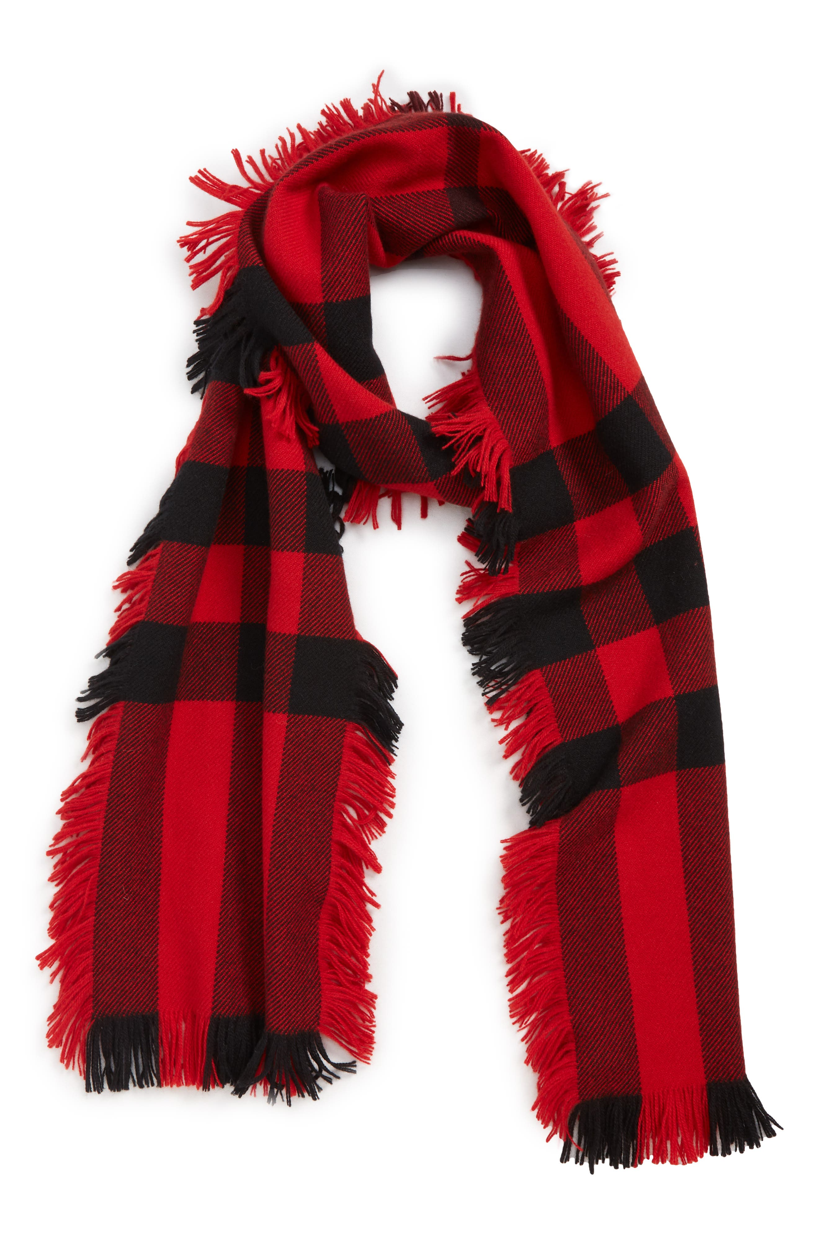 BURBERRY, Mega Fashion Fringe Wool Scarf, Alternate thumbnail 3, color, MILITARY RED