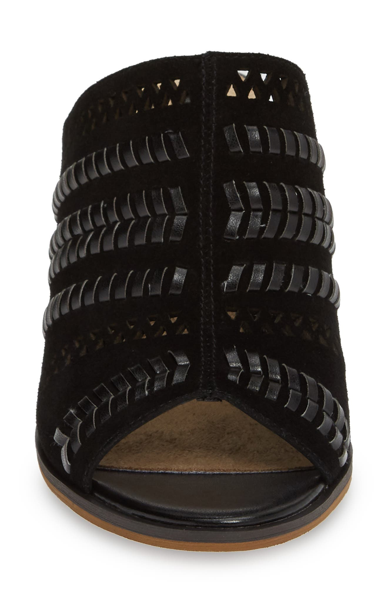 BELLA VITA, Koraline Open Toe Mule, Alternate thumbnail 4, color, BLACK SUEDE LEATHER