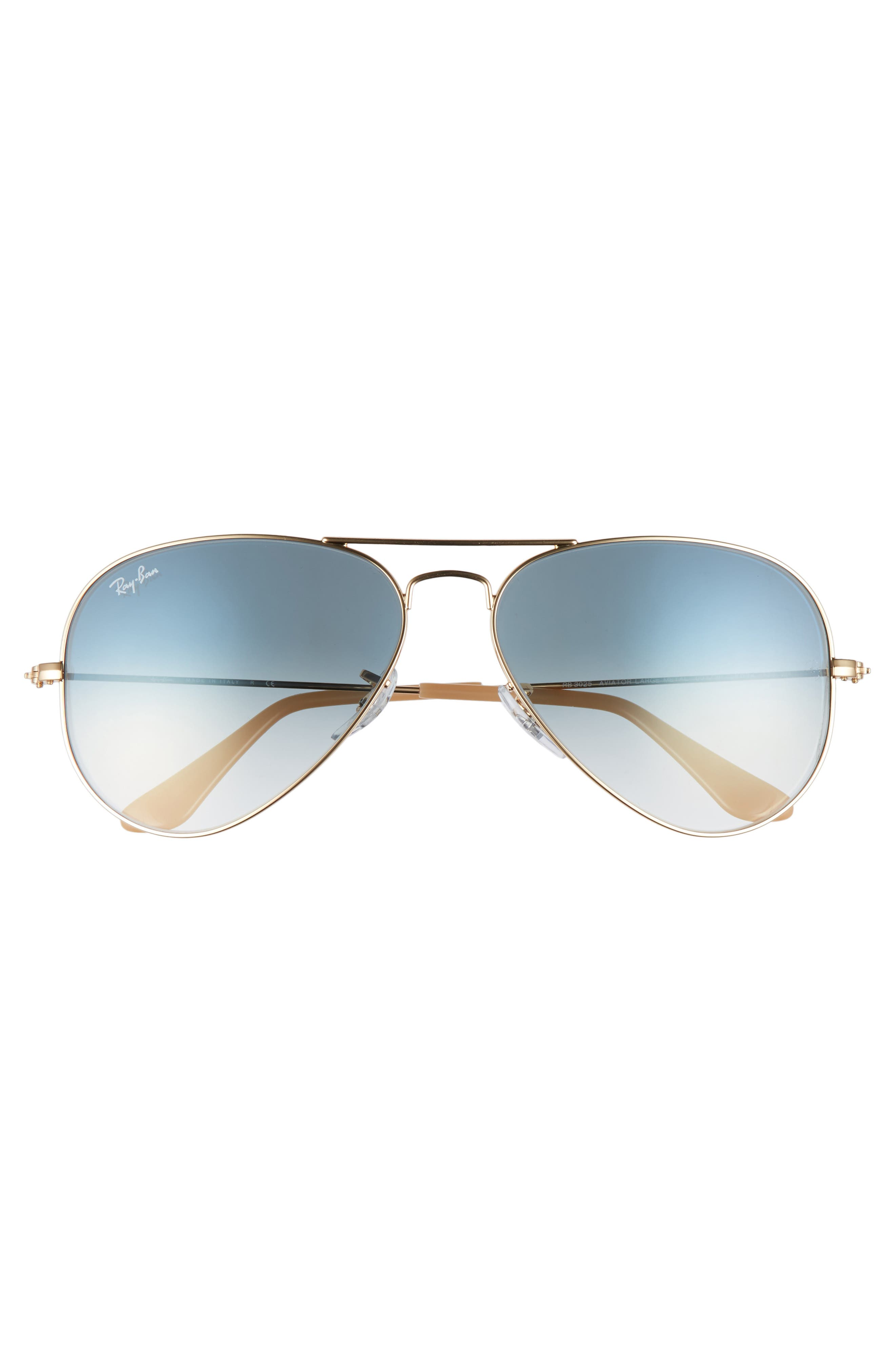 RAY-BAN, Original Aviator 58mm Sunglasses, Alternate thumbnail 2, color, MATTE GOLD/ BLUE MIRROR
