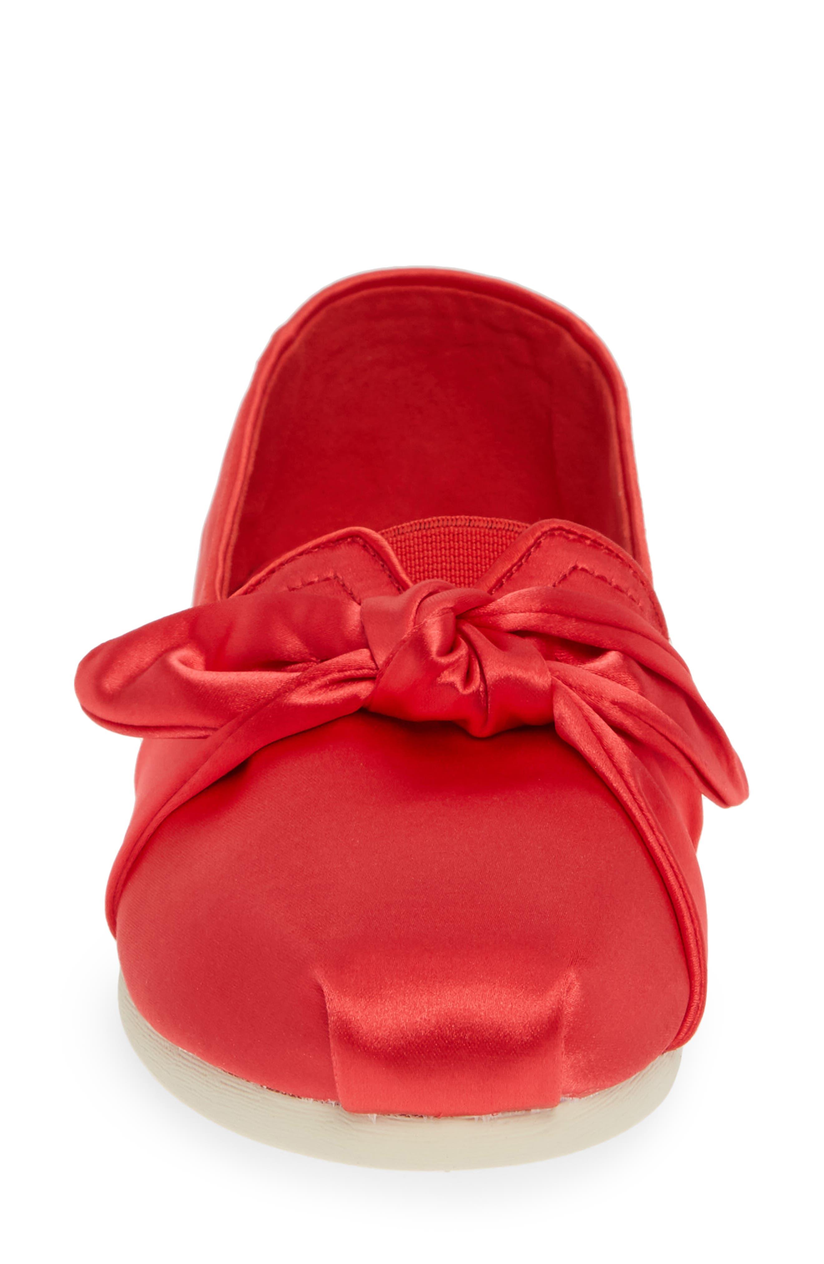 TOMS, Alpargata Bow Slip-On, Alternate thumbnail 4, color, RED LAVA FABRIC