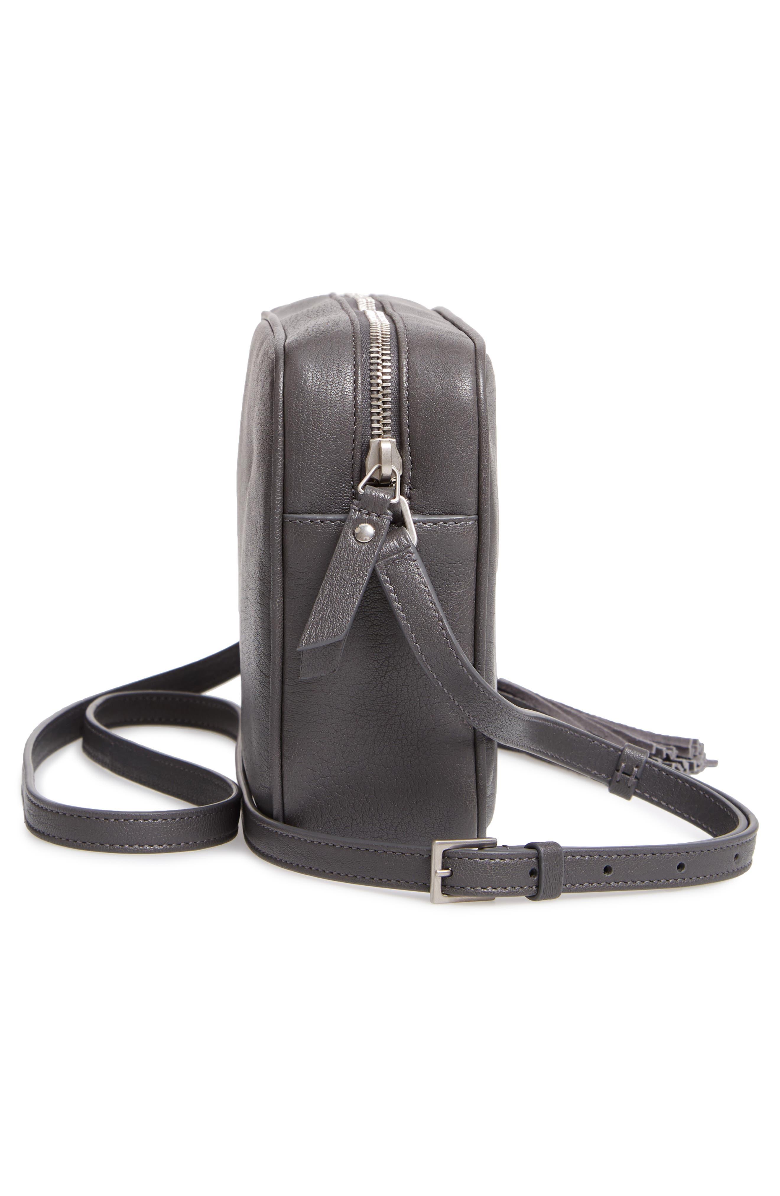 SAINT LAURENT, Small Mono Leather Camera Bag, Alternate thumbnail 5, color, STORM