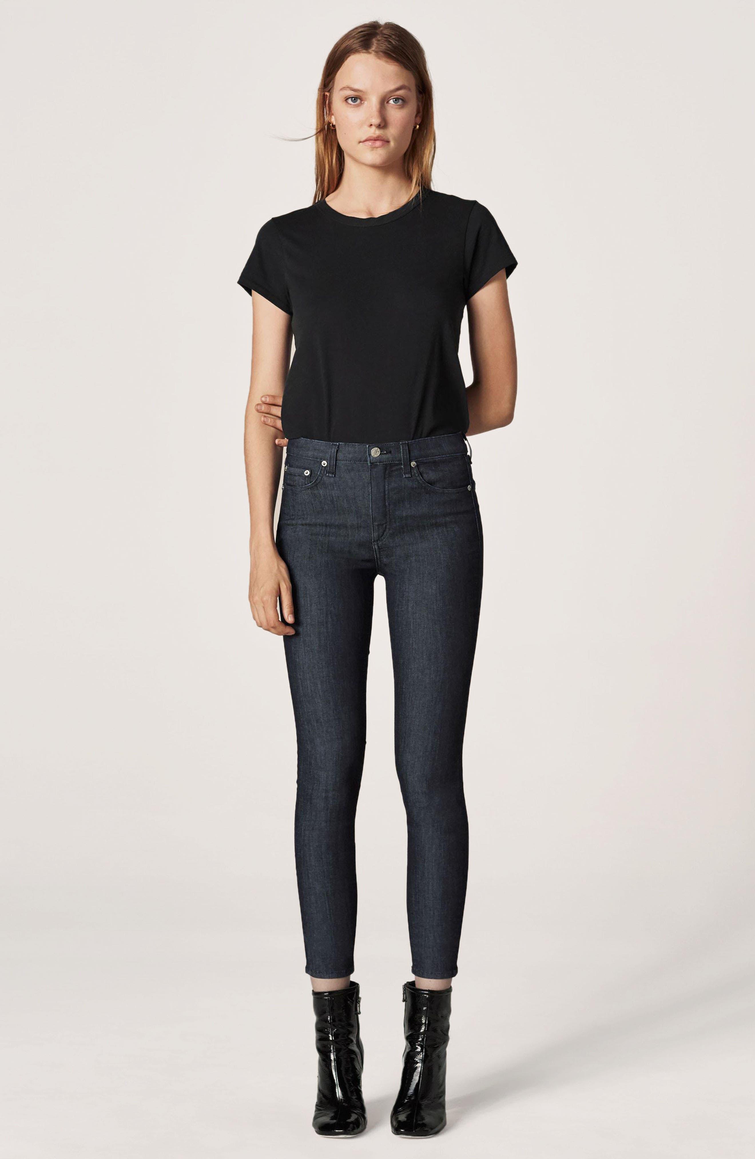 RAG & BONE, High Waist Skinny Jeans, Alternate thumbnail 8, color, INDIGO