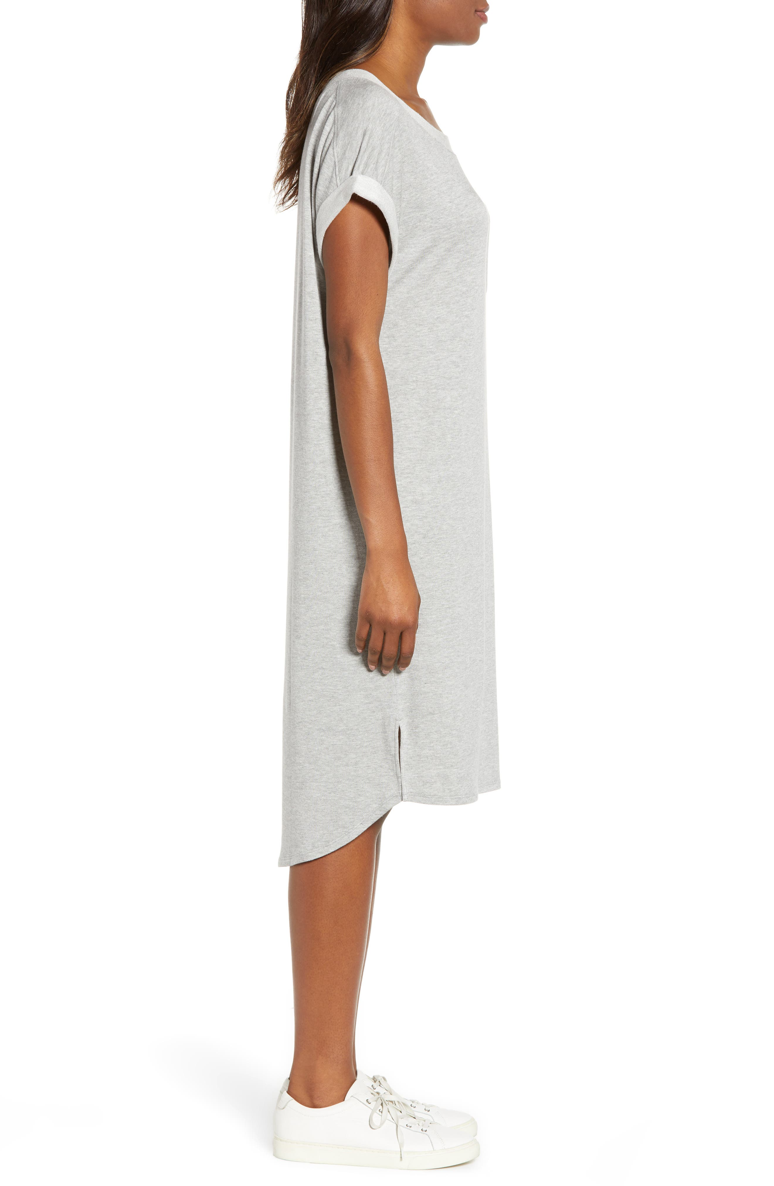 CASLON<SUP>®</SUP>, Off-Duty Knit T-Shirt Dress, Alternate thumbnail 4, color, GREY HEATHER