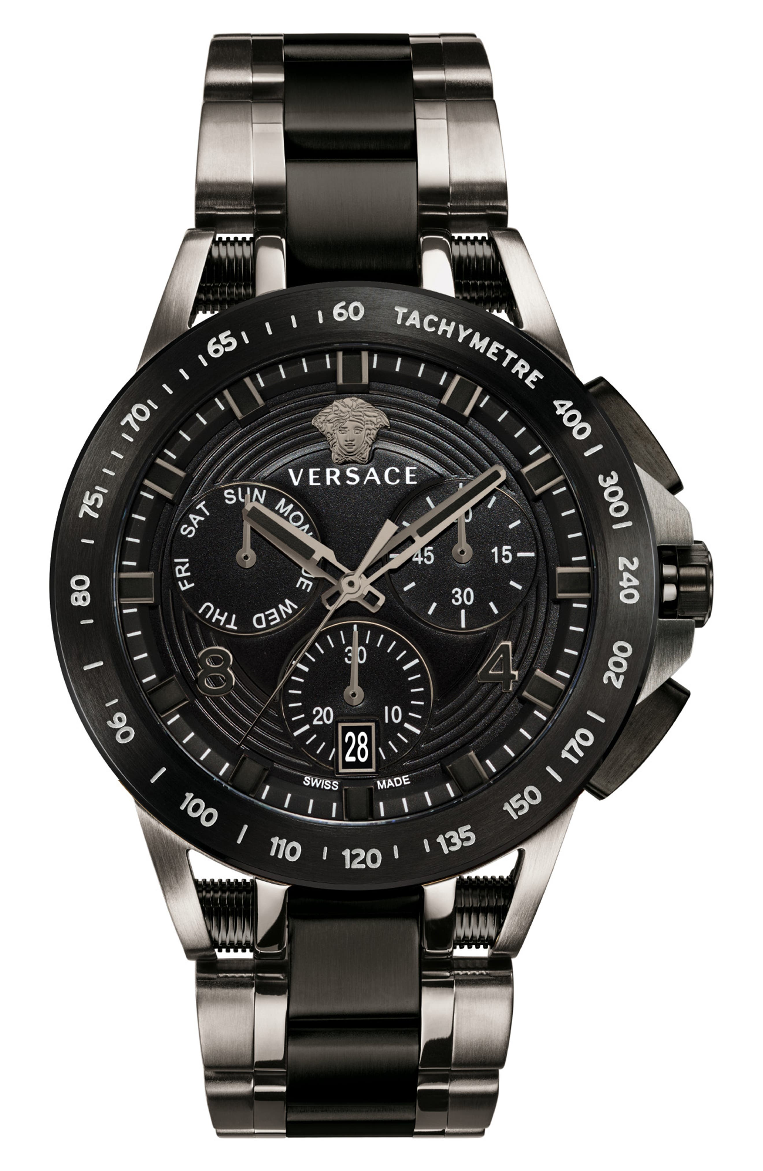 VERSACE, Sport Tech Chronograph Bracelet Watch, 45mm, Main thumbnail 1, color, 020