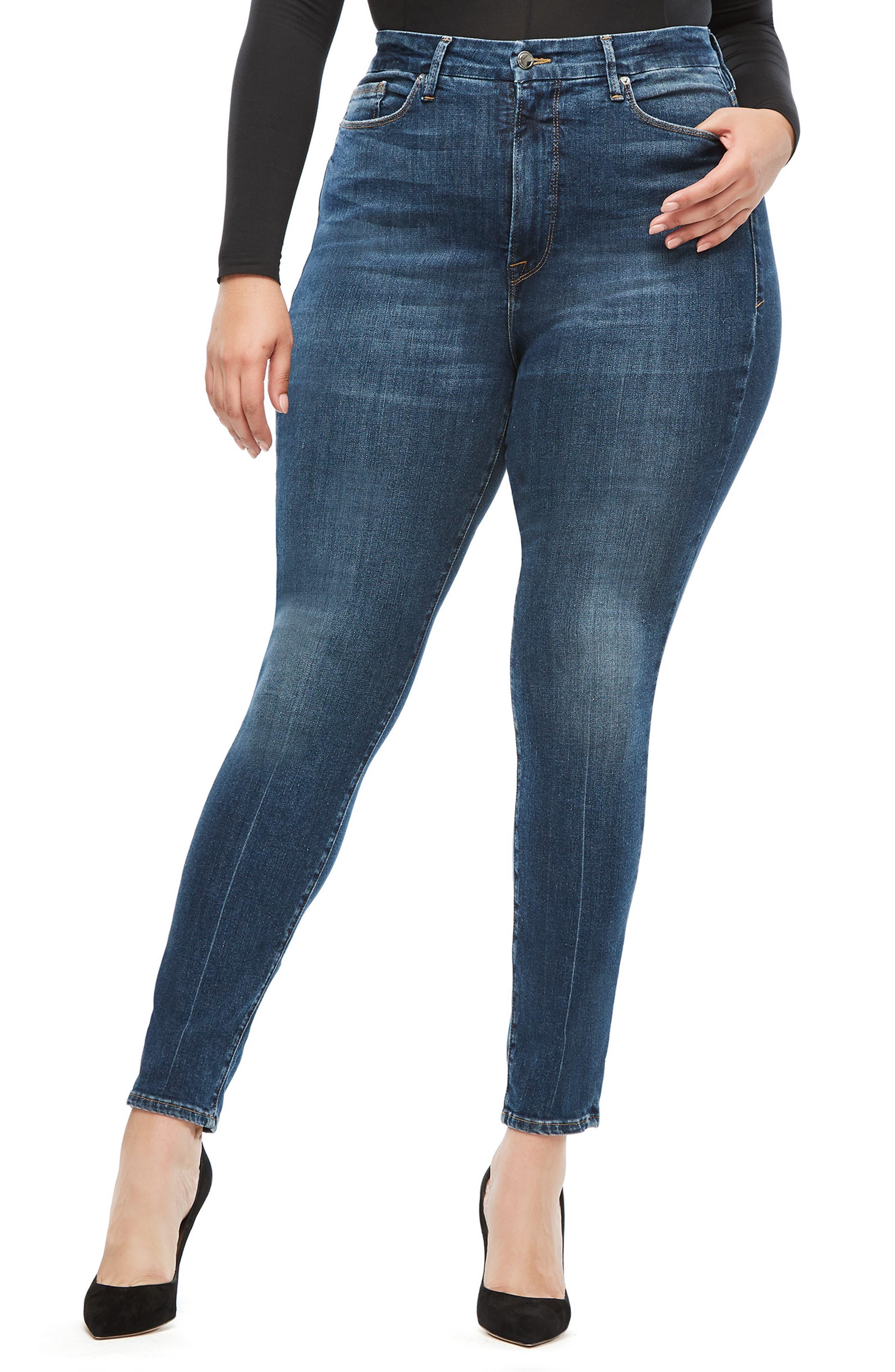 GOOD AMERICAN, Good Waist Ripped High Waist Skinny Jeans, Alternate thumbnail 2, color, BLUE 195