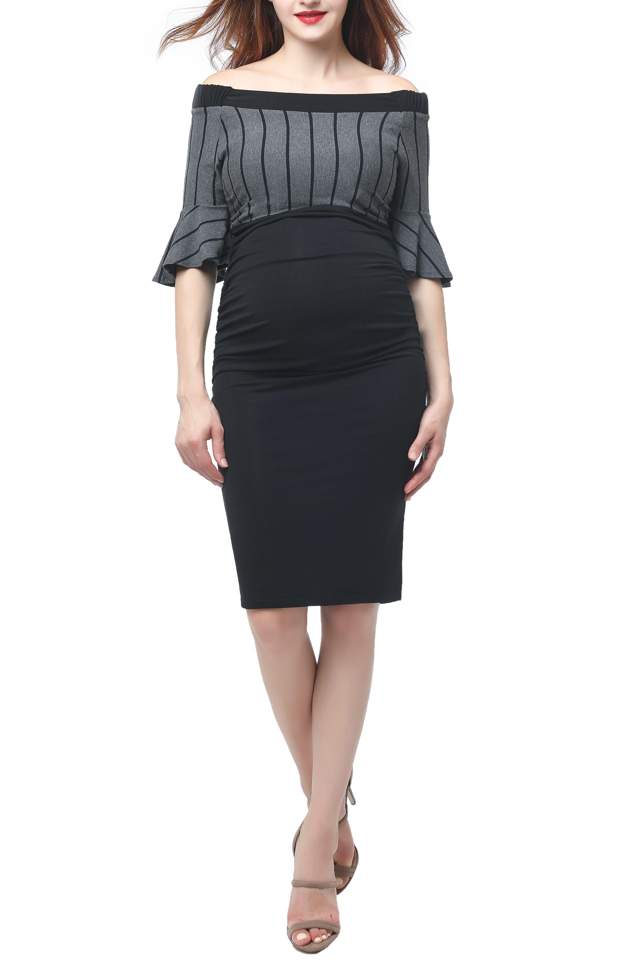 Kimi And Kai Josephine Off The Shoulder Body-Con Maternity Dress
