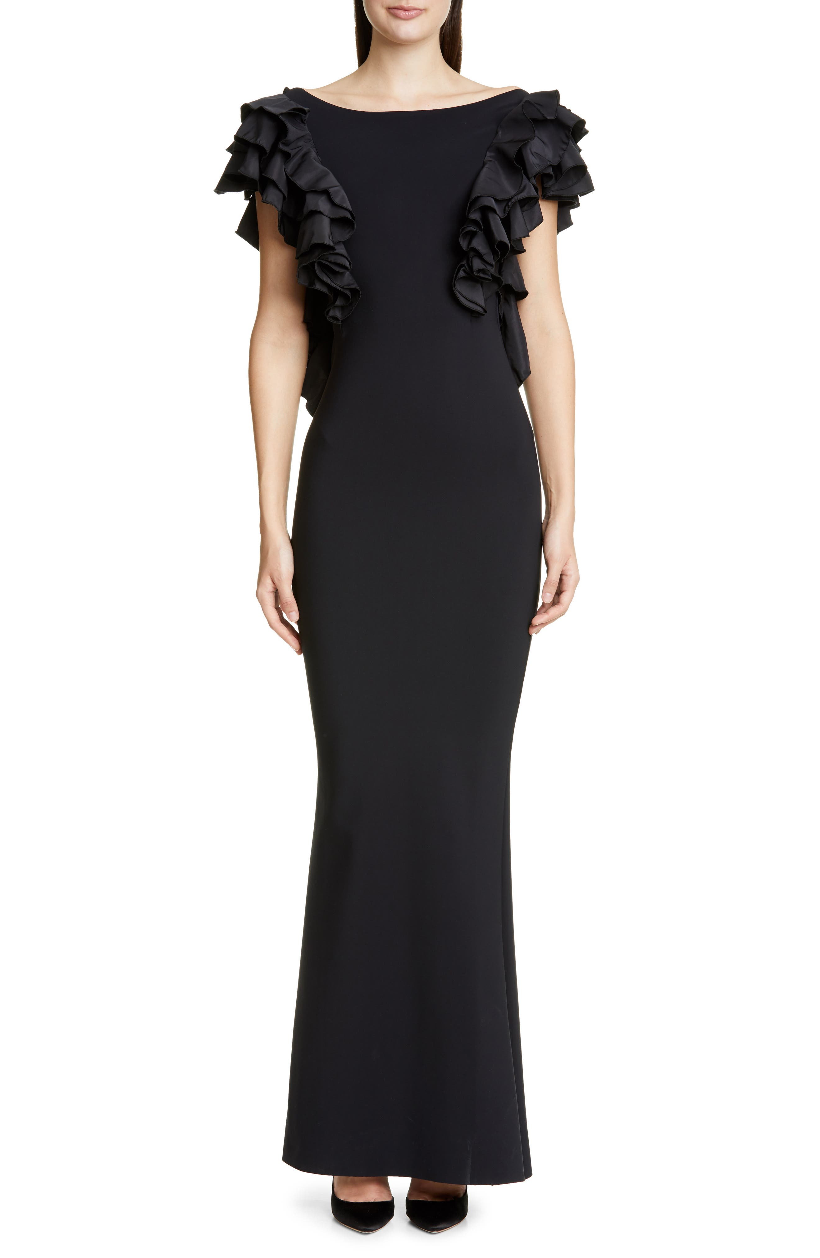 Chiara Boni La Petite Robe Orchidea Ruffle Sleeve Evening Gown, 8 IT - Black