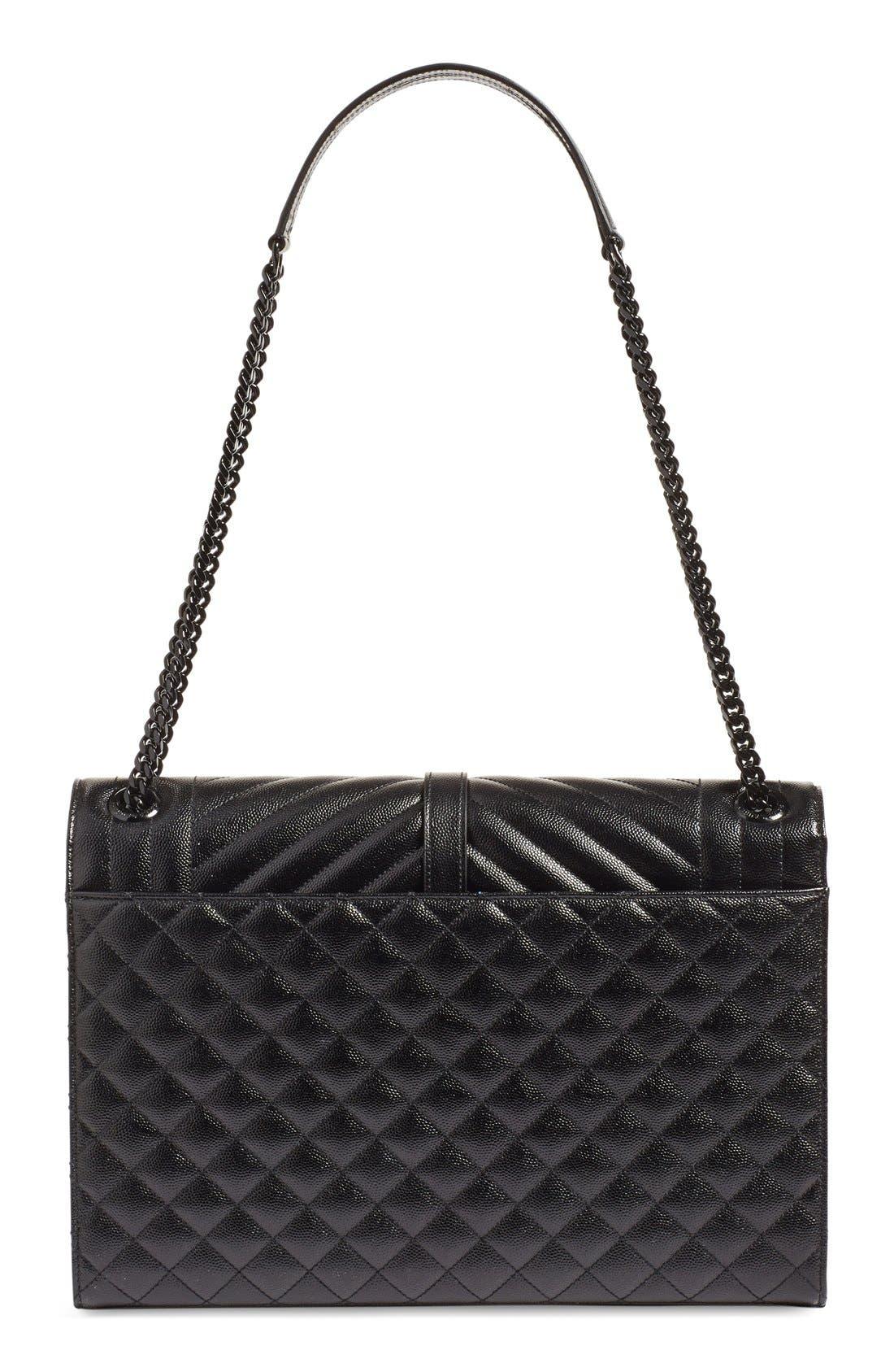 SAINT LAURENT, 'Medium Monogram' Chevron Quilted Leather Shoulder Bag, Alternate thumbnail 4, color, 001